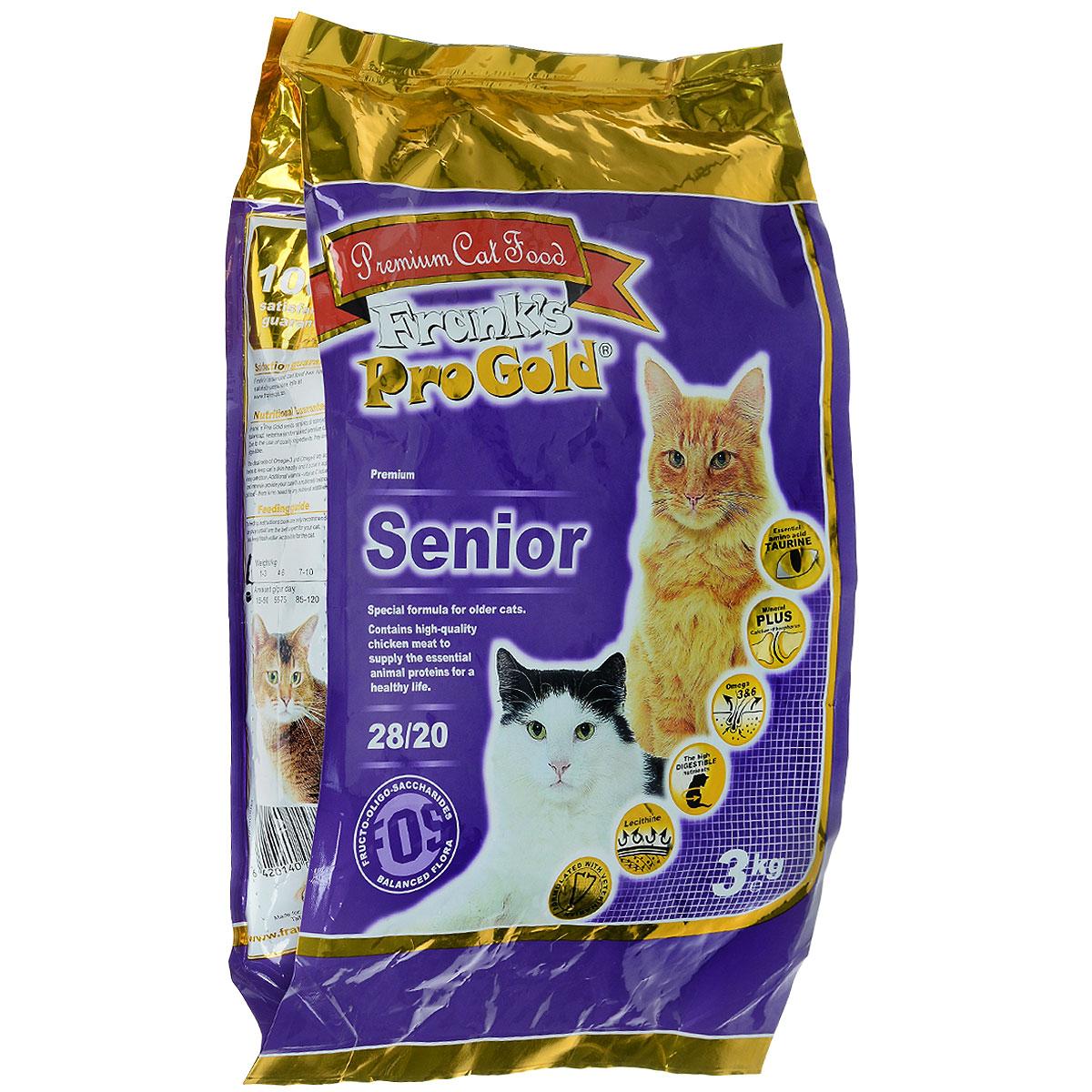 Корм сухой Franks ProGold для пожилых кошек, 3 кг23296Корм сухой Franks ProGold предназначен для пожилых кошек. Корм повышает иммунитет, помогает сохранить функцию почек, суставов, сердца и других жизненно важных органов. Не содержит пшеницы, соевых добавок, ГМО. Состав: дегидрированное мясо курицы, рис, маис, куриный жир, дегидрированная рыба, ячмень, гидролизованная куриная печень, пищевая целлюлоза (5%), свекла, минералы и витамины, дрожжи, яичный порошок, рыбий жир, инулин (0,5% FOS), лецитин (0,5%), экстракт юкки шидигера, гидролизованные хрящи (источник хондроитина), гидролизованные рачки (источник глюкозамина). Пищевая ценность: елки 28,0%, жиры 20,0%, клетчатка 5,0%, зола 6,0%, влажность 8,0%, фосфор 0,9%, кальций 1,0%. Пищевые добавки: витамин-A (E672) 20000 IU/кг, витамин-D3 (E671) 1800 IU/кг, витамин-E (dl-альфа токоферола ацетат) 400 мг/кг, витамин-C (фосфат аскорбиновой кислоты) 250 мг/кг, таурин 1100 мг/кг, E1 75 мг/кг, E2 1,5 мг/кг, E3 0,5 мг/кг, E4 5 мг/кг, E5 30 мг/кг, E6 65 мг/кг. Товар...