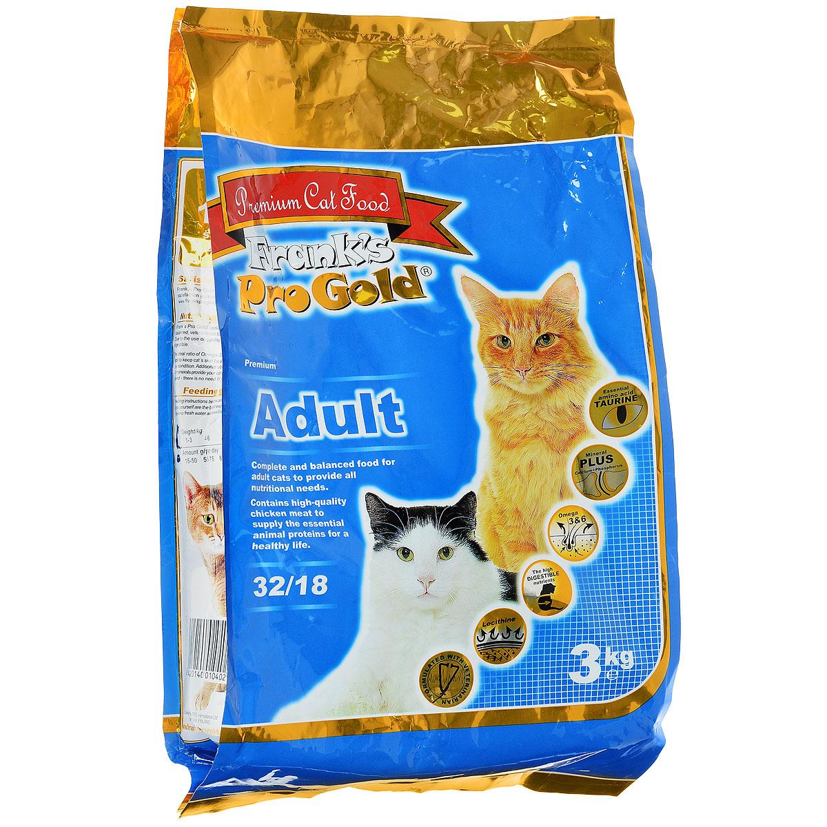 Корм сухой Franks ProGold для взрослых кошек, с курицей, 3 кг23291Сухой корм Franks ProGold - это полноценный рацион для взрослых кошек. Он содержит особую разработанную с участием ученых комбинацию ингредиентов для поддержания здоровья вашего питомца в течение продолжительного времени. Не содержит пшеницы, соевых добавок, ГМО. Состав: дегидрированное мясо курицы, рис, куриный жир, дегидрированная рыба, ячмень, гидролизованная куриная печень, кукурузная мука, свекла, дрожжи, яичный порошок, рыбий жир, минералы и витамины, гидролизованные хрящи (источник хондроитина), гидролизованные рачки (источник глюкозамина), лецитин (минимум 0,5 %), инулин (минимум 0,5 % FOS), таурин. Пищевая ценность: белки 32,0%, жиры 18,0%, клетчатка 2,0%, зола 6,0%, влажность 8,0%, фосфор 0,9%, кальций 1,4%. Добавки: витамин-A (E672) 20000 IU/кг, витамин-D3 (E671) 2000 IU/кг, витамин-E (dl-альфа токоферола ацетат) 400 мг/кг, витамин-C (фосфат аскорбиновой кислоты) 250 мг/кг, таурин 1000 мг/кг, E1 75 мг/кг, E2 1,5 мг/кг, E3 0,5 мг/кг, E4 5 мг/кг,...
