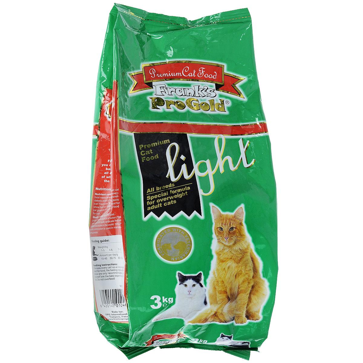 Корм сухой Franks ProGold для кошек, склонных к полноте, с курицей и рисом, 3 кг23293Сухой корм Franks ProGold - это полноценный сбалансированный корм для склонных к полноте кошек, а также после кастрации и стерилизации. Каждая четвертая кошка страдает избыточным весом. Однажды появившийся избыточный вес имеет тенденцию сохраняться и даже увеличиваться. Лишние килограммы могут повредить здоровью вашей кошки. Чтобы вернуть кошке идеальный вес, необходимы разумные ограничения рациона. Состав: мясо курицы, рис, маис, рыбное филе, печень птицы, кукурузная мука, мякоть свеклы, куриный жир, дрожжи, рыбий жир, минералы и витамины, фруктоолигосахариды (минимум 0,5%), лецитин, холинхлорид, витамин U, витамин С. Пищевая ценность: белки 29,0%, жиры 12,0%, клетчатка 2,5%, зола 6,5%, влажность 8,0%, фосфор 0,9%, кальций 1,0%, натрий 0,4%, магний 0,08%. Калорийность: 3505 ккал/кг. Товар сертефицирован.