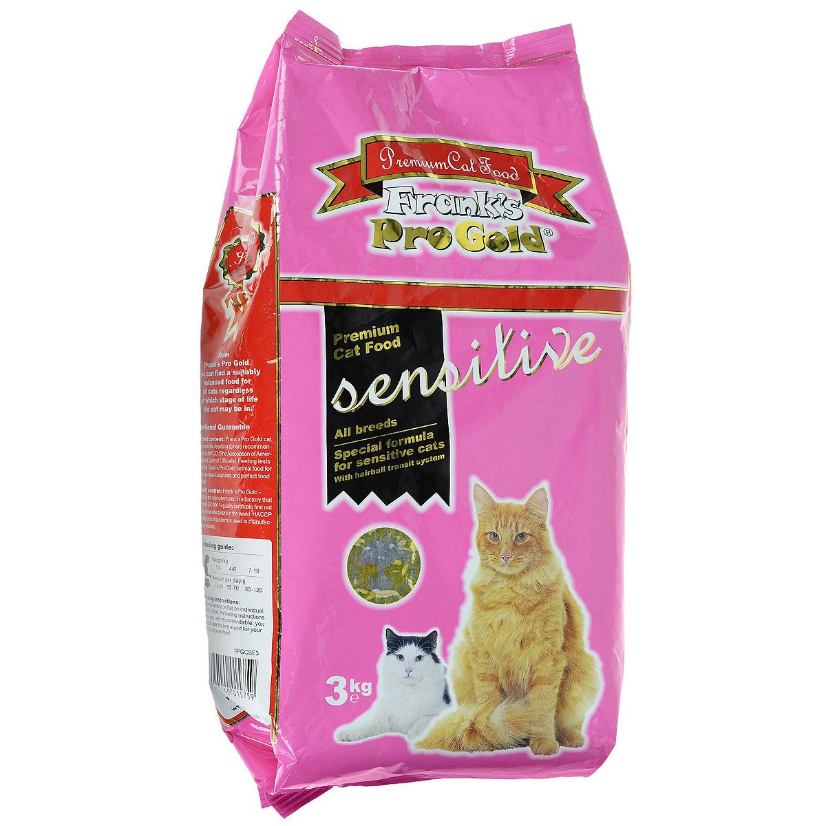 Корм сухой Franks ProGold для чувствительных кошек, с ягненком по-голландски, 3 кг23298Сухой корм Franks ProGold - высококачественное сухое питание, специально приготовленное, чтобы поддержать здоровье привередливых кошек. Если кошка капризничает, отказывается от привычной еды, это может быть обусловлено тем, что она чувствительна к еде. Специально для особо притязательных разработан корм Franks ProGold - полноценное сбалансированное питание без добавления сои и пшеницы, которое оптимально подойдет кошкам с чувствительным пищеварением. Состав: мясо ягненка, кукурузная мука, рис, маис, куриный жир, печень птицы, филе рыбы, гидролизованный белок, пищевая целлюлоза (минимум 5%), мякоть свеклы, дрожжи, яичный порошок, витамины и минералы, рыбий жир, фруктоолигосахариды (минимум 5%), лецитин (минимум 0,5%), холинхлорид, таурин, витамин Е, витамин С. Пищевая ценность: белки 32,0%, жиры 18,0%, клетчатка 5%, зола 7%, влажность 8,0%, фосфор 1,15%, кальций 1,35%, натрий 0,45%, магний 0,08%. Пищевые добавки: витамин А (Е672) 22000МЕ/кг,...