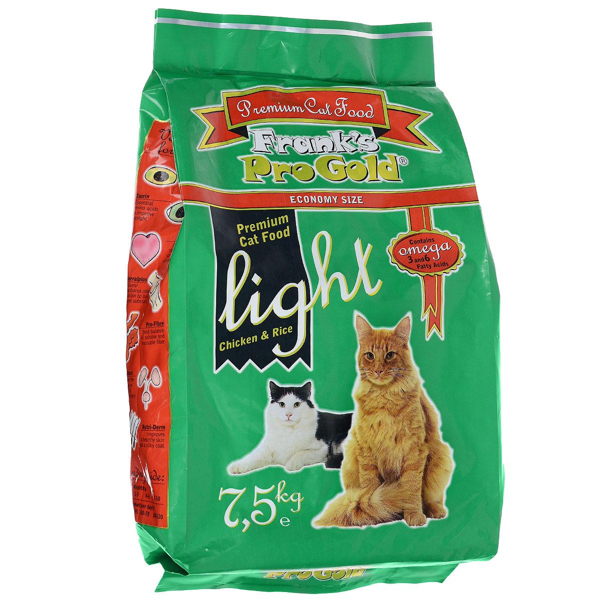 Корм сухой Franks ProGold для кошек, склонных к полноте, с курицей и рисом, 7,5 кг23294Сухой корм Franks ProGold - это полноценный сбалансированный корм для склонных к полноте кошек, а также после кастрации и стерилизации. Каждая четвертая кошка страдает избыточным весом. Однажды появившийся избыточный вес имеет тенденцию сохраняться и даже увеличиваться. Лишние килограммы могут повредить здоровью вашей кошки. Чтобы вернуть кошке идеальный вес, необходимы разумные ограничения рациона. Состав: мясо курицы, рис, маис, рыбное филе, печень птицы, кукурузная мука, мякоть свеклы, куриный жир, дрожжи, рыбий жир, минералы и витамины, фруктоолигосахариды (минимум 0,5%), лецитин, холинхлорид, витамин У, витамин С. Пищевая ценность: белки 29,0%, жиры 12,0%, клетчатка 2,5%, зола 6,5%, влажность 8,0%, фосфор 0,9%, кальций 1,0%, натрий 0,4%, магний 0,08%. Калорийность: 3505 ккал/кг. Товар сертефицирован.