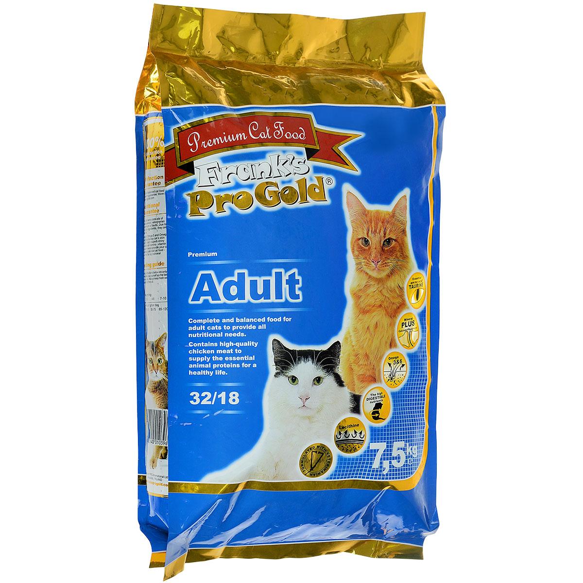 Корм сухой Franks ProGold для взрослых кошек, с курицей, 7,5 кг23292Сухой корм Franks ProGold - это полноценный рацион для взрослых кошек. Он содержит особую разработанную с участием ученых комбинацию ингредиентов для поддержания здоровья вашего питомца в течение продолжительного времени. Не содержит пшеницы, соевых добавок, ГМО. Состав: дегидрированное мясо курицы, рис, куриный жир, дегидрированная рыба, ячмень, гидролизованная куриная печень, кукурузная мука, свекла, дрожжи, яичный порошок, рыбий жир, минералы и витамины, гидролизованные хрящи (источник хондроитина), гидролизованные рачки (источник глюкозамина), лецитин (минимум 0,5%), инулин (минимум 0,5% FOS), таурин. Пищевая ценность: белки 32,0%, жиры 18,0%, клетчатка 2,0%, зола 6,0%, влажность 8,0%, фосфор 0,9%, кальций 1,4%. Добавки: витамин-A (E672) 20000 IU/кг, витамин-D3 (E671) 2000 IU/кг, витамин-E (dl-альфа токоферола ацетат) 400 мг/кг, витамин-C (фосфат аскорбиновой кислоты) 250 мг/кг, таурин 1000 мг/кг, E1 75 мг/кг, E2 1,5 мг/кг, E3 0,5 мг/кг, E4 5 мг/кг, E5...