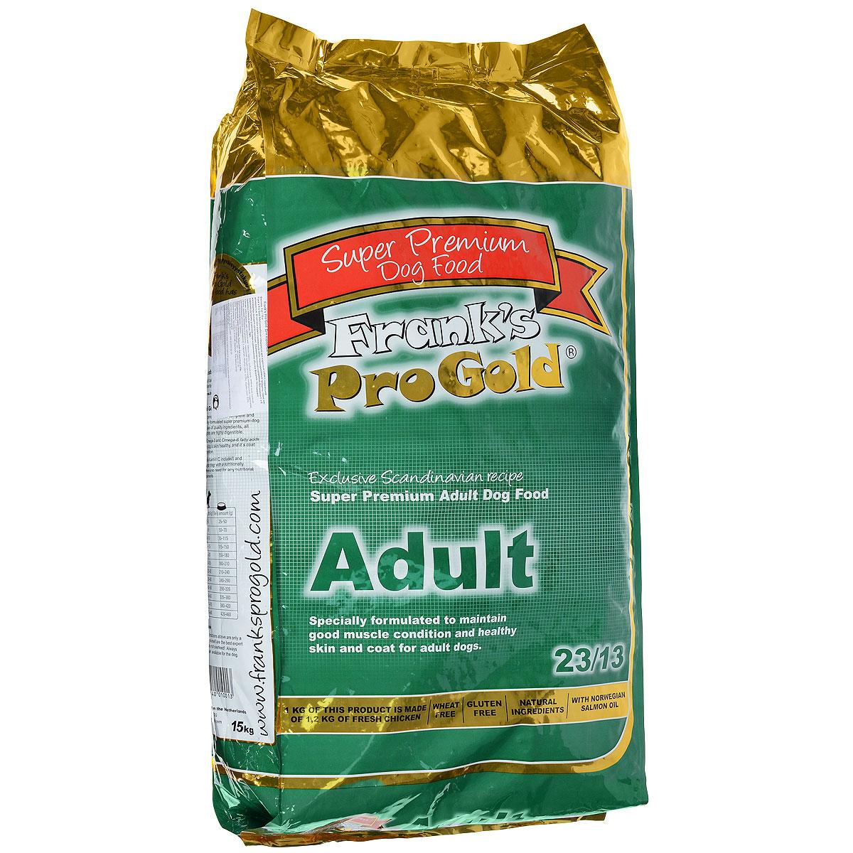Корм сухой Franks ProGold для взрослых собак всех пород, 15 кг17929Сухой корм Franks ProGold разработан специально для взрослых собак с нормальной активностью. В составе корма содержатся легко перевариваемые продукты, такие как: мясо курицы высшего качества и рис. Сбалансированное содержание витаминов С и Е помогают лучшему усвоению пищи и уменьшению объема фекалий. Не содержит пшеницы, соевых добавок, ГМО. Состав: дегидрированное мясо курицы, маис, рис, куриный жир, свекла, дегидрированная рыба, кэроб, льняное семя, гидролизованная куриная печень, дрожжи, минералы и витамины, хондроитин, глюкозамин, L-карнитин, лецитин (минимум 0,5%), инулин (минимум 0,5% FOS), таурин. Пищевая ценность: белки 23,0%, жиры 13,0%, клетчатка 2,5%, зола 8,0%, влажность 9,5%, фосфор 1,2%, кальций 1,6%. Добавки: витамин-A (E672) 18000 IU/кг, витамин-D3 (E671) 1800 IU/кг, витамин-E (альфа токоферола ацетат) 153 мг/кг, витамин-C (фосфат аскорбиновой кислоты) 100 мг/кг, E1 50 мг/кг, E2 1,5 мг/кг, E4 5 мг/кг, E5 35 мг/кг, E6 65 мг/кг. Товар...