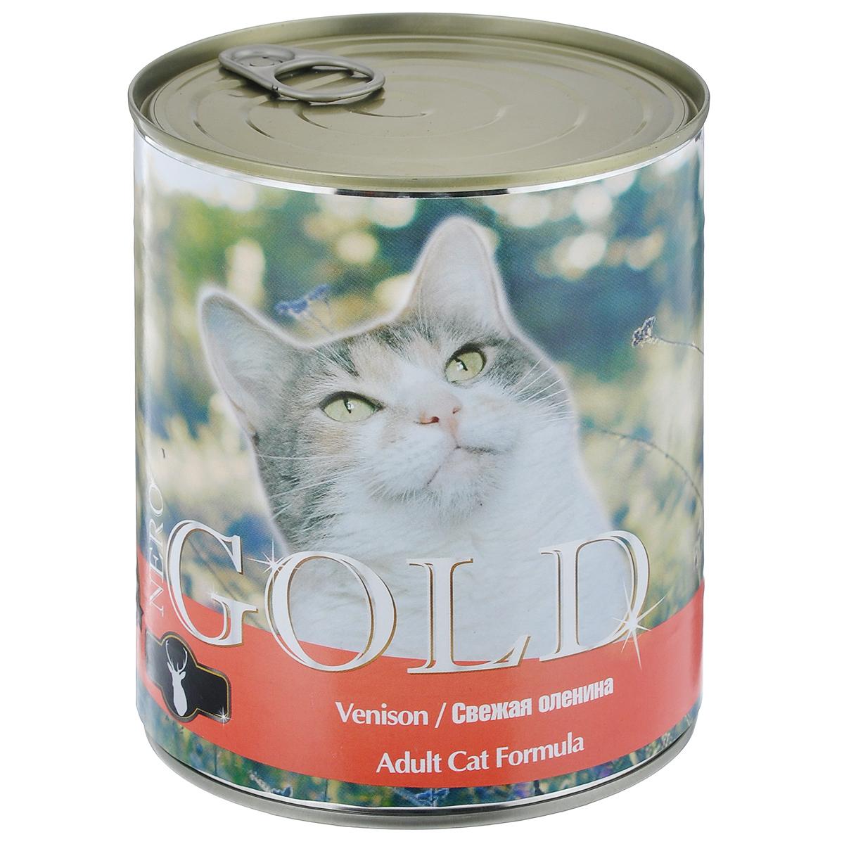 Консервы для кошек Nero Gold, свежая оленина, 810 г24485Консервы для кошек Nero Gold - полнорационный продукт, содержащий все необходимые витамины и минералы, сбалансированный для поддержания оптимального здоровья вашего питомца! Состав: мясо и его производные, филе курицы, оленина, злаки, витамины и минералы. Гарантированный анализ: белки 6%, жиры 4,5%, клетчатка 0,5%, зола 2%, влага 81%. Пищевые добавки на 1 кг продукта: витамин А 1600 МЕ, витамин D 140 МЕ, витамин Е 10 МЕ, таурин 300 мг, железо 24 мг, марганец 6 мг, цинк 15 мг, медь 1 мг, магний 200 мг, йод 0,3 мг, селен 0,2 мг. Вес: 810 г. Товар сертифицирован.