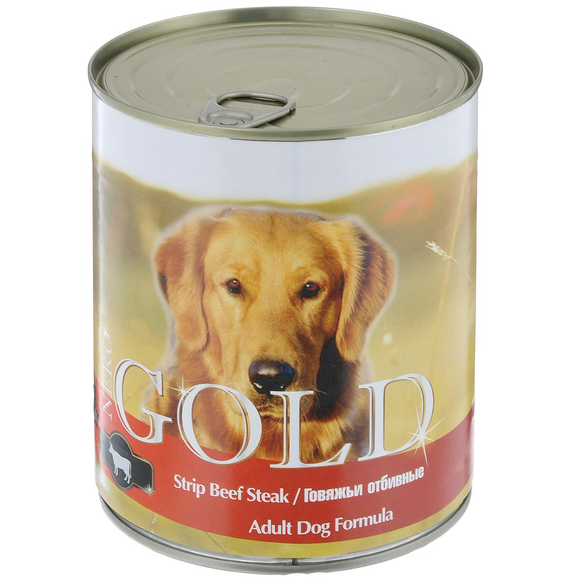 Консервы для собак Nero Gold, с говяжьей отбивной, 810 г10271Консервы для собак Nero Gold - полнорационный продукт, содержащий все необходимые витамины и минералы, сбалансированный для поддержания оптимального здоровья вашего питомца! Состав: мясо и его производные, филе курицы, говядина, злаки, витамины и минералы. Гарантированный анализ: белки 6,5%, жиры 4,5%, клетчатка 0,5%, зола 2%, влага 81%. Пищевые добавки на 1 кг продукта: витамин А 1600 МЕ, витамин D 140 МЕ, витамин Е 10 МЕ, железо 24 мг, марганец 6 мг, цинк 15 мг, медь 1 мг, магний 200 мг, йод 0,3 мг, селен 0,2 мг. Вес: 810 г. Товар сертифицирован.