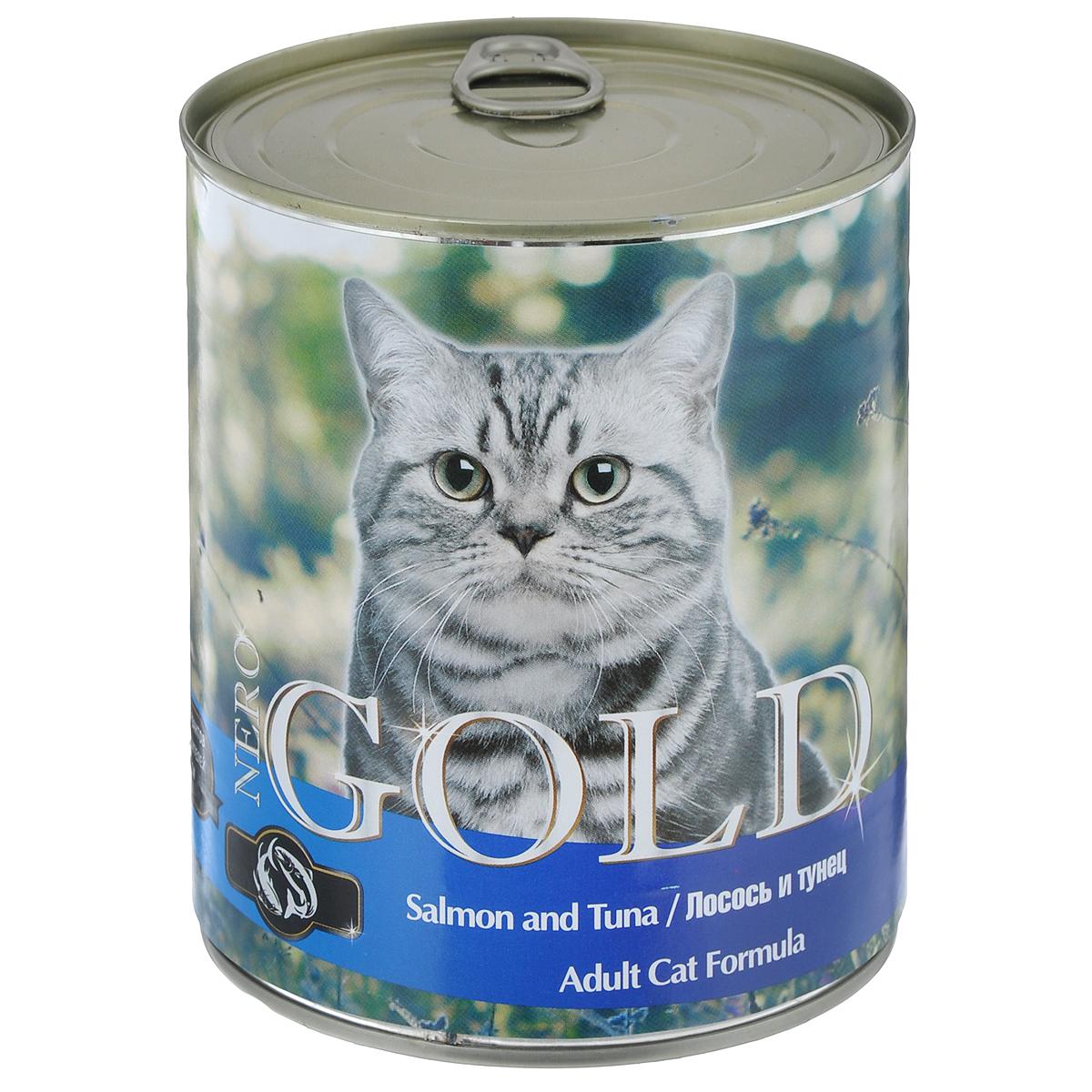 Консервы для кошек Nero Gold, с лососем и тунцом, 810 г24489Консервы для кошек Nero Gold - полнорационный продукт, содержащий все необходимые витамины и минералы, сбалансированный для поддержания оптимального здоровья вашего питомца! Состав: мясо и его производные, филе курицы, филе лосося, филе тунца, злаки, витамины и минералы. Гарантированный анализ: белки 6%, жиры 4,5%, клетчатка 0,5%, зола 2%, влага 81%. Пищевые добавки на 1 кг продукта: витамин А 1600 МЕ, витамин D 140 МЕ, витамин Е 10 МЕ, таурин 300 мг, железо 24 мг, марганец 6 мг, цинк 15 мг, медь 1 мг, магний 200 мг, йод 0,3 мг, селен 0,2 мг. Вес: 810 г. Товар сертифицирован.