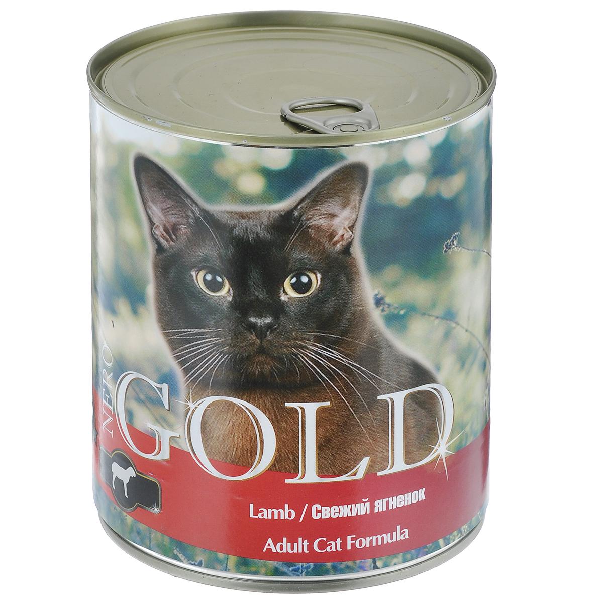 Консервы для кошек Nero Gold, свежий ягненок, 810 г24487Консервы для кошек Nero Gold - полнорационный продукт, содержащий все необходимые витамины и минералы, сбалансированный для поддержания оптимального здоровья вашего питомца! Состав: мясо и его производные, филе курицы, ягненок, злаки, витамины и минералы. Гарантированный анализ: белки 6%, жиры 4,5%, клетчатка 0,5%, зола 2%, влага 81%. Пищевые добавки на 1 кг продукта: витамин А 1600 МЕ, витамин D 140 МЕ, витамин Е 10 МЕ, таурин 300 мг, железо 24 мг, марганец 6 мг, цинк 15 мг, медь 1 мг, магний 200 мг, йод 0,3 мг, селен 0,2 мг. Вес: 810 г. Товар сертифицирован.