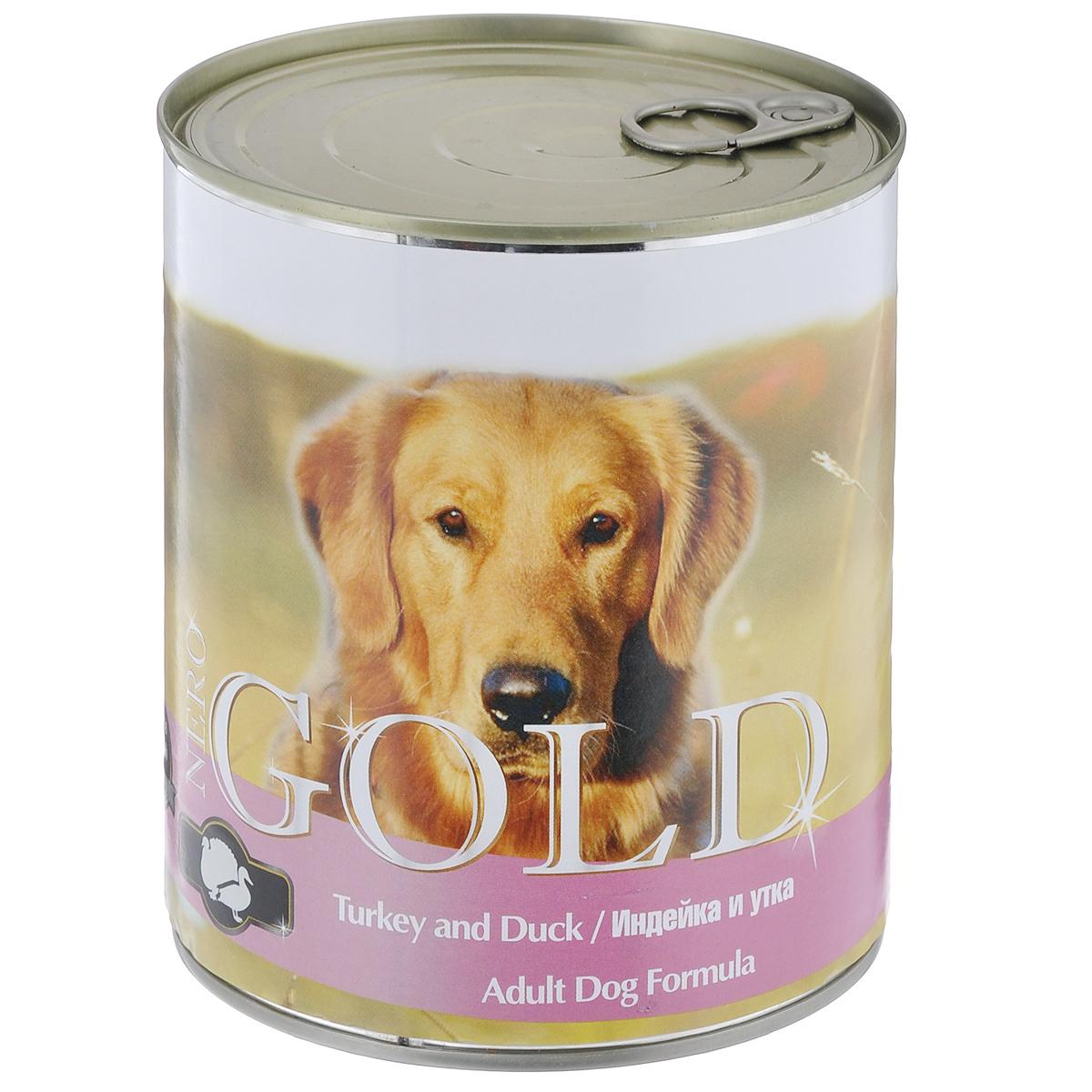 Консервы для собак Nero Gold, с индейкой и уткой, 810 г10318Консервы для собак Nero Gold - полнорационный продукт, содержащий все необходимые витамины и минералы, сбалансированный для поддержания оптимального здоровья вашего питомца! Состав: мясо и его производные, филе курицы, филе индейки, филе утки, злаки, витамины и минералы. Гарантированный анализ: белки 6,5%, жиры 4,5%, клетчатка 0,5%, зола 2%, влага 81%. Пищевые добавки на 1 кг продукта: витамин А 1600 МЕ, витамин D 140 МЕ, витамин Е 10 МЕ, железо 24 мг, марганец 6 мг, цинк 15 мг, медь 1 мг, магний 200 мг, йод 0,3 мг, селен 0,2 мг. Вес: 810 г. Товар сертифицирован.