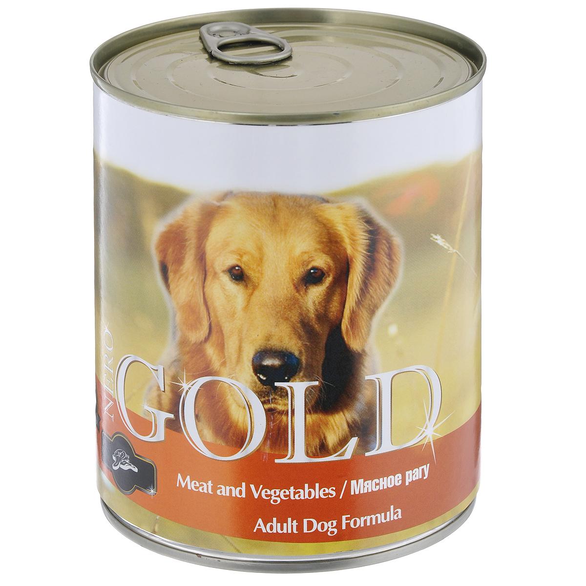 Консервы для собак Nero Gold, мясное рагу, 810 г10315Консервы для собак Nero Gold - полнорационный продукт, содержащий все необходимые витамины и минералы, сбалансированный для поддержания оптимального здоровья вашего питомца! Состав: мясо и его производные, филе курицы, овощи, злаки, витамины и минералы. Гарантированный анализ: белки 6,5%, жиры 4,5%, клетчатка 0,5%, зола 2%, влага 81%. Пищевые добавки на 1 кг продукта: витамин А 1600 МЕ, витамин D 140 МЕ, витамин Е 10 МЕ, железо 24 мг, марганец 6 мг, цинк 15 мг, медь 1 мг, магний 200 мг, йод 0,3 мг, селен 0,2 мг. Вес: 810 г. Товар сертифицирован.