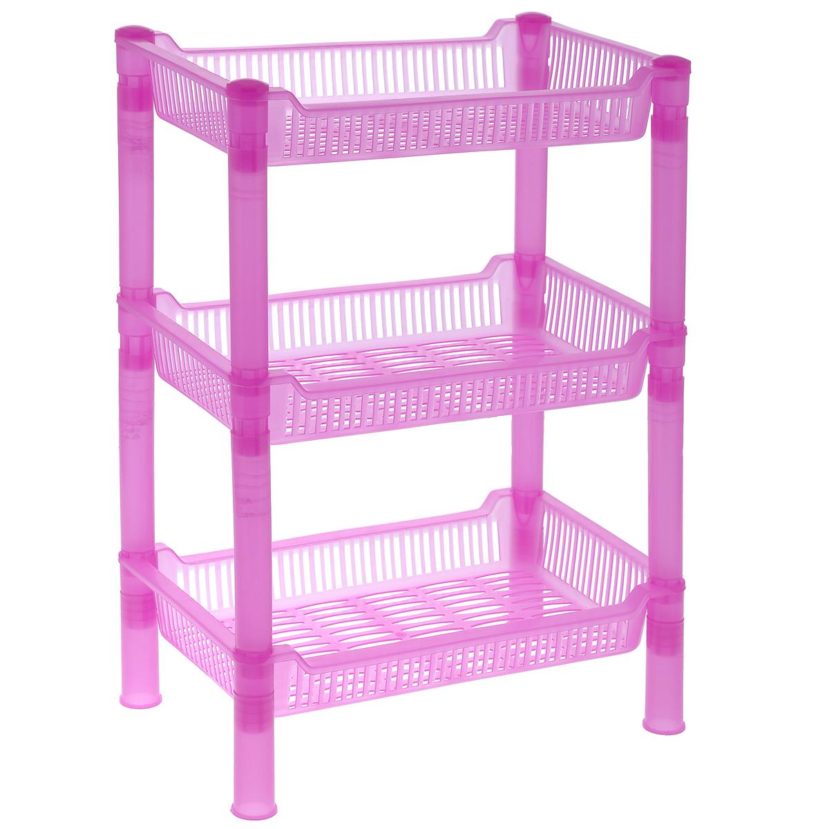 Этажерка Sima-land, 3-х ярусная, цвет: розовый, 27 х 17 х 27 см862515_розовыйКомпактная этажерка Sima-land выполнена из высококачественного пластика. Содержит 3 корзины с перфорированным дном и стенками. Этажерка подходит для хранения различных фруктов и овощей на кухне или различных принадлежностей в ванной комнате. Очень удобная и компактная, но в тоже время вместительная, такая этажерка прекрасно впишется в интерьер любой кухни или ванной комнаты. Она поможет легко организовать пространство. Легко собирается и разбирается. Размер этажерки (ДхШхВ): 27 см х 17 см х 27 см. Размер яруса (ДхШхВ): 27 см х 17 см х 4,5 см.