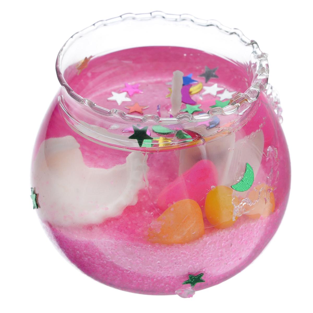 Свеча декоративная Sima-land Вазочка, цвет: розовый, высота 3,5 см182350Декоративная свеча Sima-land Вазочка изготовлена из геля и расположена в небольшой стеклянной емкости, которая наполнена цветным песком и ракушками. Изделие порадует вас своим дизайном. Такая свеча может стать отличным подарком или дополнить интерьер вашей комнаты.