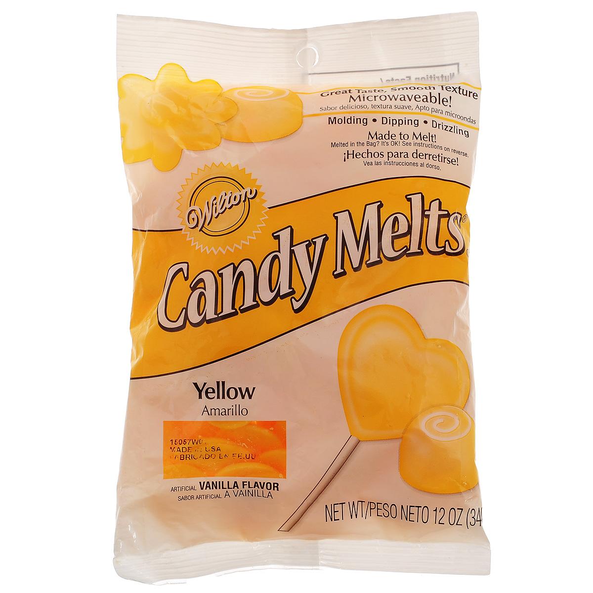 Тающая конфетка Wilton Candy Melts, цвет: желтый, 340 гWLT-1911-1369Тающая конфетка Wilton Candy Melts используется для создания конфет, глазировки фруктов, печений, тортов и других кондитерских изделий. Имеет форму таблетки. С помощью таких конфет можно создавать кондитерские изделия различной формы. Растопить конфеты можно в микроволновой печи или на водяной бане, а затем залить в формочки. Когда масса застынет, просто переверните формочку и достаньте готовое изделие. Состав: сахар, частично гидрогенизированное пальмовое масло, сухое цельное молоко, обезжиренное сухое молоко, сухая сыворотка деминерализованная, соевый лецитин, соль, пищевой краситель, искусственный ароматизатор. Пищевая ценность на 100 г: жиры - 30 г, в т.ч. насыщенные жиры - 27,5 г, белок - меньше 2,5 г, углеводы - 67,5 г, в т.ч. сахар - 67,5 г, натрий - 112,5 мг. Энергетическая ценность: 550 Ккал. Масса нетто: 340 г. Товар сертифицирован.