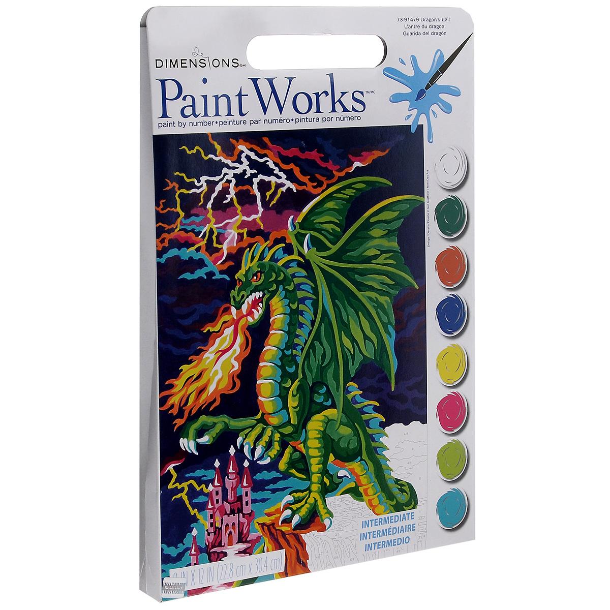 Раскраска по номерам PaintWorks Логово дракона, 23 x 31 смDMS-73-91479С раскраской по номерам PaintWorks Логово дракона каждый сможет стать художником и создать великолепную картину! Нужно лишь аккуратно нанести необходимую краску на отмеченный для нее участок на эскизе картины. Каждая краска имеет свой номер, соответствующий номеру на картине. Некоторые участки требуют смешения цветов, они обозначены буквами. Рекомендуется сначала раскрасить участки одного цвета, прежде чем переходить к окрашиванию другими цветами. Набор содержит: - качественные акриловые краски, - фактурный картон с нанесенным контуром рисунка, - кисть, - доступную инструкцию на русском языке. Если ваши дети любят рисовать и заниматься изобразительным искусством, то, несомненно, для них станет лучшим подарком этот набор. Дизайн картинок стимулирует творческую активность ребенка, а сама работа доставляет большое удовольствие. Эта раскраска позволяет открыть художника в каждом ребенке!