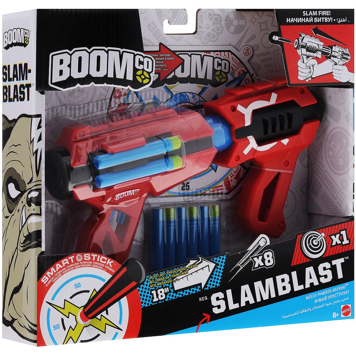 BOOMco Бластер Slam Blast, с патронамиCFD42Быстрый и надежный дальнобойный бластер BOOMco Slam Blast позволит вашему ребенку почувствовать себя во всеоружии. Набор включает в себя бластер, восемь снарядов и мишень. Игрушка выполнена из прочного безопасного пластика. Благодаря уникальной технологии Smart Stick, снаряды прикрепляются куда угодно, не повреждая поверхность. Разместите мишень на стене и устройте дружеское соревнование. Бластер обеспечит мега-мощность! Расстояние выстрела - 18 м. Может соединяться с другими аксессуарами и бластерами BOOMco для еще большей огневой силы. Такая игрушка не только порадует малыша, но и поможет ему совершенствовать мелкую и крупную моторику, а также координацию движений. Ребенок сможет соревноваться с друзьями в меткости и скорости стрельбы, или устроить настоящее космическое сражение!