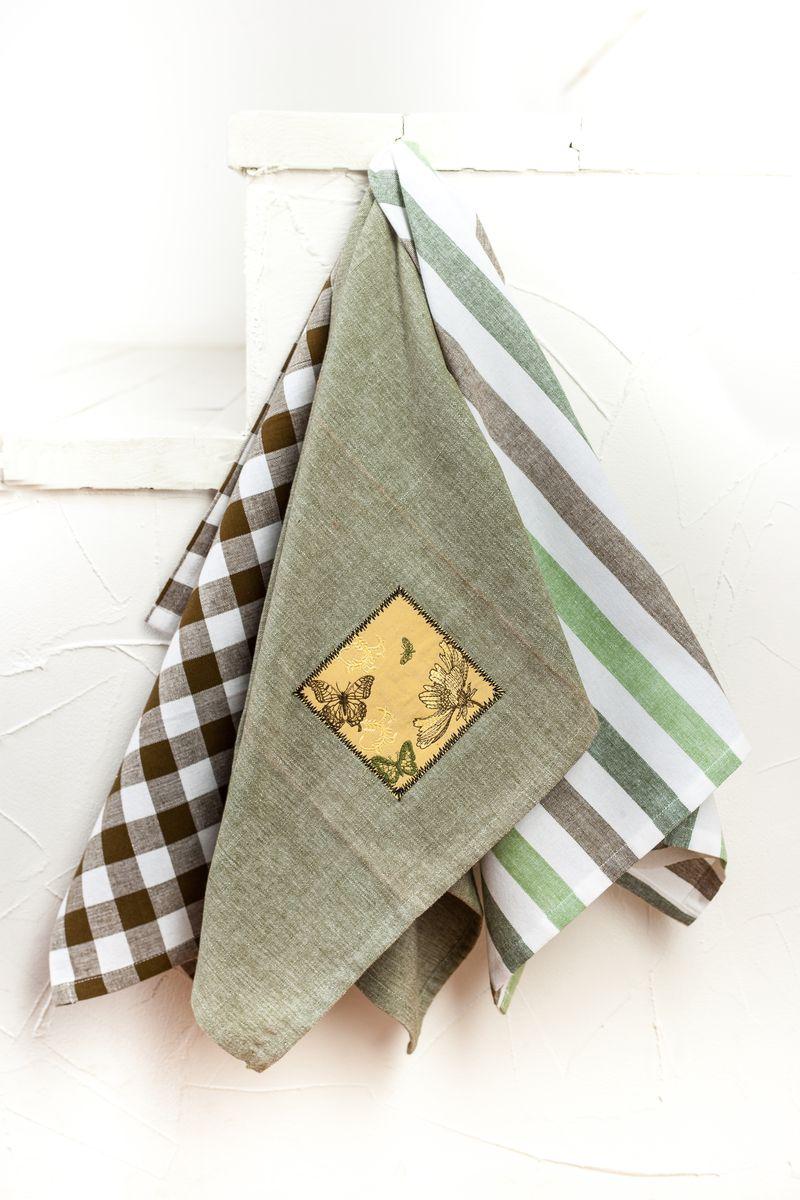 Набор полотенец для кухни Бабочки грин, цвет: зеленый4042.1Экологически чистая продукция с современным дизайном, которая без проблем впишется в интерьер дома.