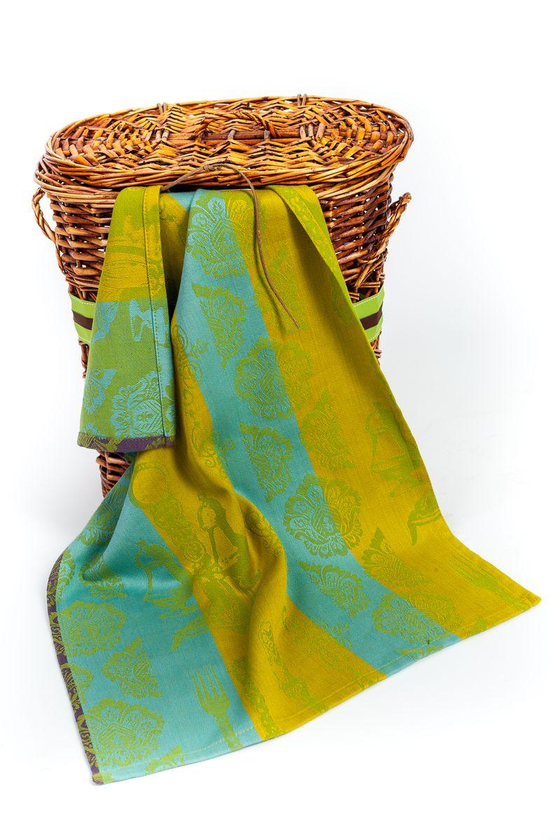 """Арлони Arloni Полотенце для кухни Arloni """"Классик"""", цвет: желто-зеленый, голубой, 45 х 70 см"""