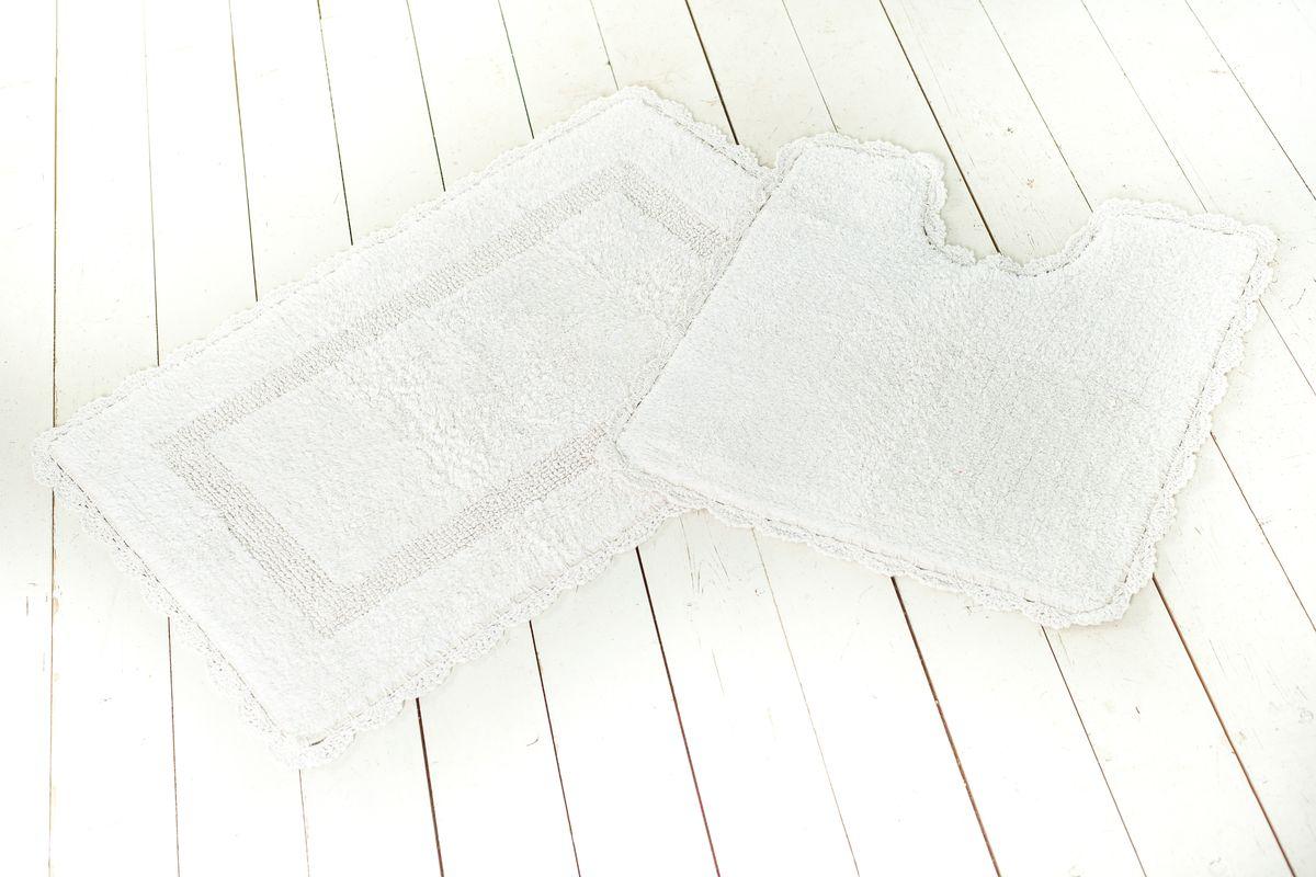 """Arloni Коврик для ванной """"Лейс"""" с кружевом, цвет: белый, 50 х 80 см 1212"""