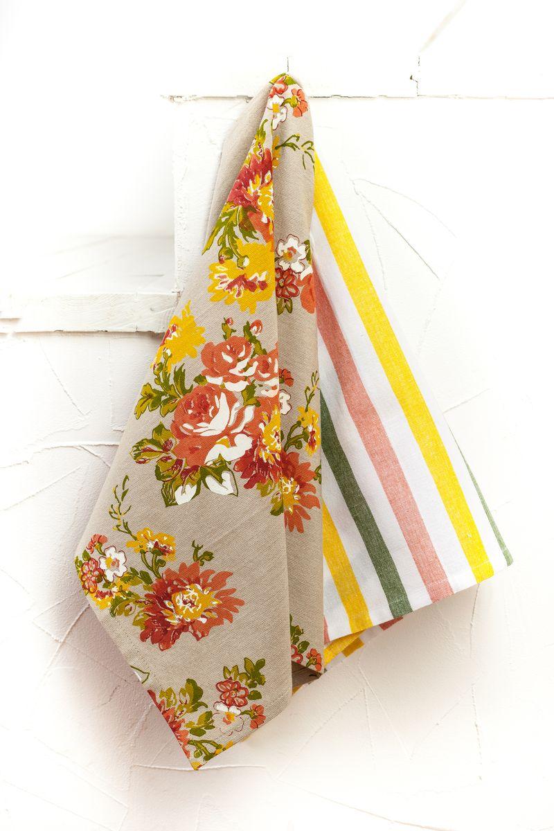 "Арлони Arloni Набор полотенец для кухни Arloni ""Флауэрс"", цвет: бежевый, оранжевый, 45 х 70 см, 2 шт"