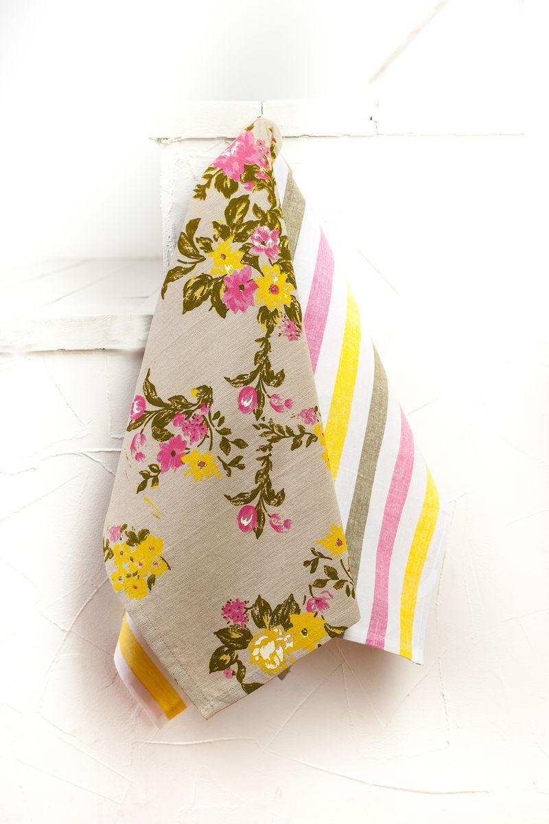 """Арлони Arloni Набор полотенец для кухни Arloni """"Флауэрс"""", цвет: бежевый, розовый, 45 см х 70 см, 2 шт"""