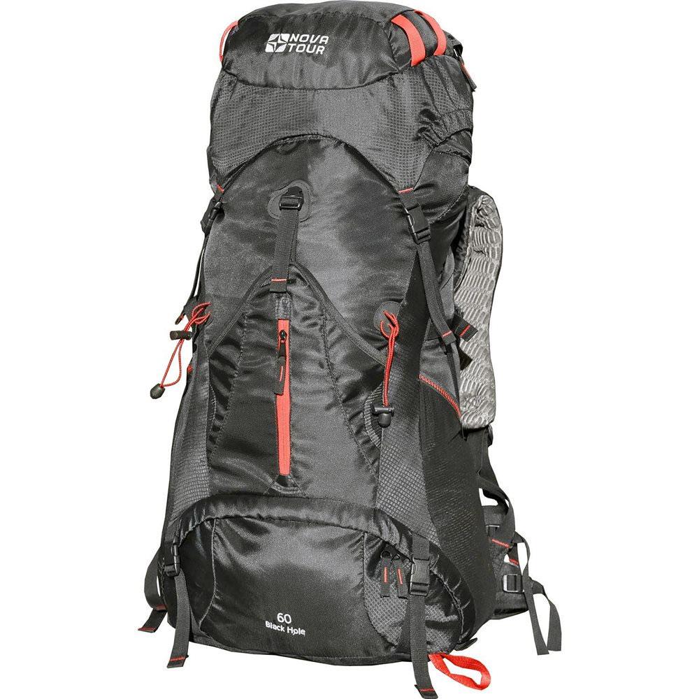Рюкзак туристический Nova Tour Блэк Хол 60, цвет: черный12302-901-00Если вы устали от обыкновенных рюкзаков и душа просит праздника, то рюкзак Блэк Хол именно то, что нужно. Рюкзак будет составлять с вами единое целое, ведь его подвесная система имеет увеличенные по ширине лямки и точно настраиваемый под строение тела облегченный 3D пояс. Есть желание достать что-либо в рюкзаке не расстегивая верхний клапан? Пожалуйста! Удобный нижний и боковой вход помогут в этом. Нужно чтото снять или наоборот надеть? Любую потребовавшуюся в переходе одежду можно хранить в специальном закрывающемся кармане на фасаде рюкзака. Всех любителей ходить с треккинговыми палками несомненно порадует наличие крепления и для этого инвентаря. В рюкзаке используется система подвески спины ABS-5. Лат и рамы у рюкзака нет. Спину рюкзака формирует полужесткая вставка из материала EVA и боковые валики со спинной подушкой из AirMesh. Спина рюкзака оборудована шкалой (несколькими горизонтально пришитыми стропами), за которые цепляется узел лямок. Таким образом происходит...