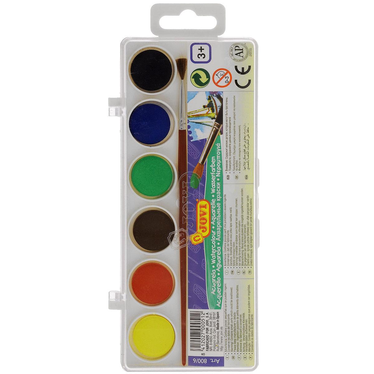 Краски акварельные Jovi, с кисточкой, 6 цветов. 800/6
