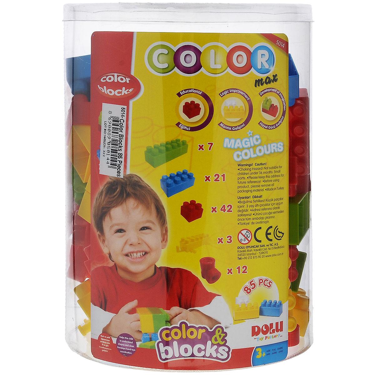 Dolu Конструктор 50145014Большой конструктор DOLU необходимая игрушка в любой детской комнате, которая надолго займет внимание вашего ребенка. В комплект входят 85 пластиковых элементов конструктора, с помощью которых ребенок сможет складывать невообразимые постройки. Все детали конструктора имеют большие формы и безопасны для здоровья малыша. Во время игры ребенок познакомится с основными цветами, научится различать фигуры, форму и цвет, сможет развить мелкую моторику рук, логику и творческое мышление.