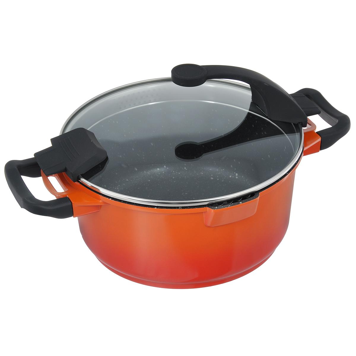Кастрюля BergHOFF Virgo Orange с крышкой, с антипригарным покрытием, цвет: оранжево-красный, 4,6 л2304902Кастрюля BergHOFF Virgo изготовлена из литого алюминия, который имеет эффект чугунной посуды. В отличие от чугуна, посуда из алюминия легче по весу и быстро нагревается, что гарантирует сбережение энергии. Внутреннее покрытие - экологически безопасное антипригарное покрытие Ferno Green, которое не содержит ни свинца, ни кадмия. Антипригарные свойства посуды позволяют готовить без жира и подсолнечного масла или с его малым количеством. Ручки выполнены из бакелита с покрытием Soft-touch, они имеют комфортную эргономичную форму и не нагреваются в процессе эксплуатации. Крышка изготовлена из термостойкого стекла, благодаря чему можно наблюдать за ингредиентами в процессе приготовления. Широкий металлический обод со специальными отверстиями разного диаметра позволяет выливать жидкость, не снимая крышку. Подходит для всех типов плит, включая индукционные. Рекомендуется мыть вручную. Диаметр кастрюли (по верхнему краю): 24 см. Ширина кастрюли (с учетом ручек):...