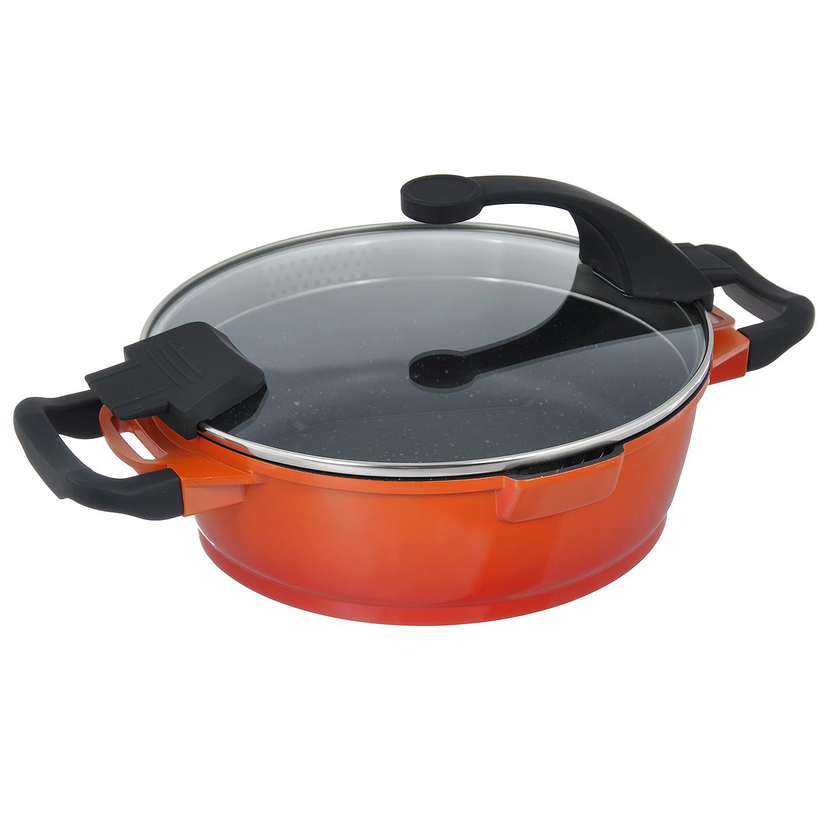 Сотейник BergHOFF Virgo Orange с крышкой, с антипригарным покрытием, цвет: оранжево-красный, 3 л. 23049062304906Сотейник BergHOFF Virgo изготовлен из литого алюминия, который имеет эффект чугунной посуды. В отличие от чугуна, посуда из алюминия легче по весу и быстро нагревается, что гарантирует сбережение энергии. Внутреннее покрытие - экологически безопасное антипригарное покрытие Ferno Green, которое не содержит ни свинца, ни кадмия. Антипригарные свойства посуды позволяют готовить без жира и подсолнечного масла или с его малым количеством. Ручки выполнены из бакелита с покрытием Soft-touch, они имеют комфортную эргономичную форму и не нагреваются в процессе эксплуатации. Крышка изготовлена из термостойкого стекла, благодаря чему можно наблюдать за ингредиентами в процессе приготовления. Широкий металлический обод со специальными отверстиями разного диаметра позволяет выливать жидкость, не снимая крышку. Сотейник оснащен двумя носиками для слива жидкости. Подходит для всех типов плит, включая индукционные. Рекомендуется мыть вручную. Диаметр сотейника (по верхнему...