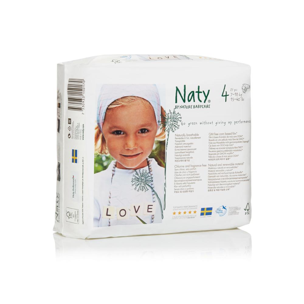 Фито-подгузники Naty (Найти), размер 4 (от 7 до 18 кг.), 27 шт.7330933150170О бренде: Компания Naty основана в Швеции матерью двух мальчиков Марлен Сандберг. В результате для малышей и их мам была создана новая, экологически чистая продукция из натурального воспроизводимого сырья, отвечающая высоким запросам потребителей по качеству, эффективности и дизайну. Компания представляет широкий ассортимент товаров личной гигиены из натуральных материалов для детей и женщин, а также детский текстиль. Вся продукция шведской компании Naty изготовлена из натуральных органических материалов, не содержит никаких вредных химических компонентов. Материалы, которые используются для производства, проходят все необходимые тесты на аллергические реакции. Продукция Naty - это выбор ответственных родителей, заботящихся о здоровье своих детей и окружающей природе. Описание: Вместо нефтепродуктов для производства подгузников и трусиков Naty использует материал на основе кукурузного крахмала. Подгузник Naty состоит из наполнителя на основе целлюлозы, отбеленной...