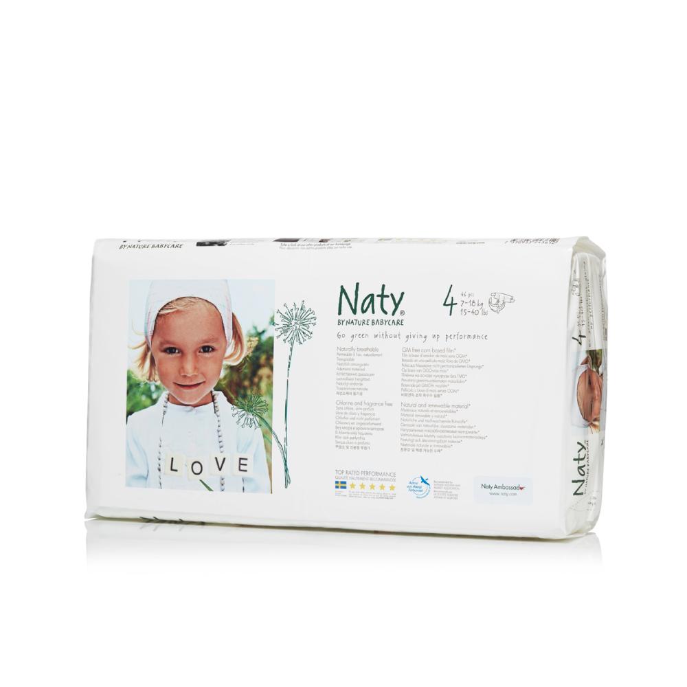 Фито-подгузники Naty (Найти), размер 4 (от 7 до 18 кг.), 46 шт.7330933243612О бренде: Компания Naty основана в Швеции матерью двух мальчиков Марлен Сандберг. В результате для малышей и их мам была создана новая, экологически чистая продукция из натурального воспроизводимого сырья, отвечающая высоким запросам потребителей по качеству, эффективности и дизайну. Компания представляет широкий ассортимент товаров личной гигиены из натуральных материалов для детей и женщин, а также детский текстиль. Вся продукция шведской компании Naty изготовлена из натуральных органических материалов, не содержит никаких вредных химических компонентов. Материалы, которые используются для производства, проходят все необходимые тесты на аллергические реакции. Продукция Naty - это выбор ответственных родителей, заботящихся о здоровье своих детей и окружающей природе. Описание: Вместо нефтепродуктов для производства подгузников и трусиков Naty использует материал на основе кукурузного крахмала. Подгузник Naty состоит из наполнителя на основе целлюлозы, отбеленной...