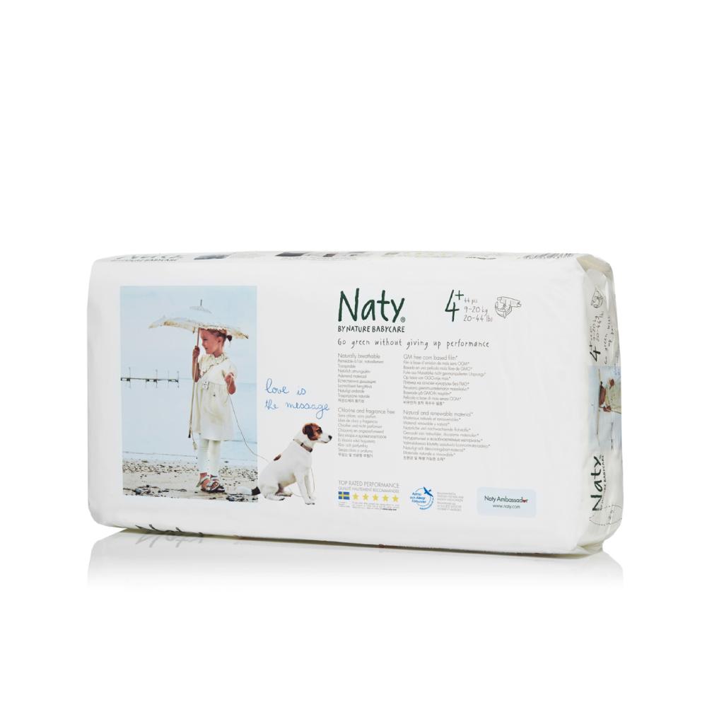 Фито-подгузники Naty (Найти), размер 4+ (от 9 до 20 кг.), 44 шт.7330933243629О бренде: Компания Naty основана в Швеции матерью двух мальчиков Марлен Сандберг. В результате для малышей и их мам была создана новая, экологически чистая продукция из натурального воспроизводимого сырья, отвечающая высоким запросам потребителей по качеству, эффективности и дизайну. Компания представляет широкий ассортимент товаров личной гигиены из натуральных материалов для детей и женщин, а также детский текстиль. Вся продукция шведской компании Naty изготовлена из натуральных органических материалов, не содержит никаких вредных химических компонентов. Материалы, которые используются для производства, проходят все необходимые тесты на аллергические реакции. Продукция Naty - это выбор ответственных родителей, заботящихся о здоровье своих детей и окружающей природе. Описание: Вместо нефтепродуктов для производства подгузников и трусиков Naty использует материал на основе кукурузного крахмала. Подгузник Naty состоит из наполнителя на основе целлюлозы, отбеленной...