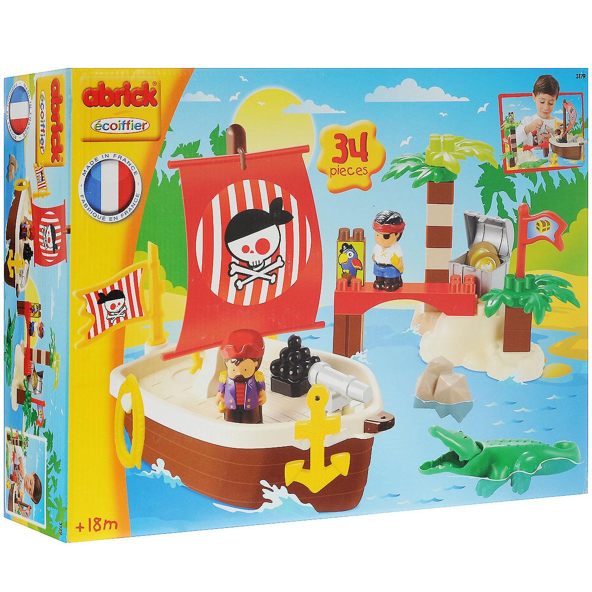 Ecoiffier Конструктор Сокровища пиратов3179Конструктор Ecoiffier Сокровища пиратов не только порадует вашего малыша, но и позволит ему провести время с пользой. Игровой набор состоит из 34 деталей конструктора, выполненных из безопасного высококачественного пластика ярких цветов (детали для сборки пиратского корабля, острова с сокровищами, две фигурки пиратов, фигурка крокодила, детали декора, аксессуары). Из элементов конструктора малыш сможет собрать пиратский корабль и отправиться на поиски острова с сокровищами, а также разыграть сценки из жизни пиратов. Фигурки пиратов будут очень интересными вашему ребенку, так как они имеют подвижные ручки и ножки, а у фигурки крокодила - открывается пасть. С любимыми героями ребенок может играть как один, так и в компании с друзьями, придумывая свои интересные истории. Замечательная игрушка-конструктор не только развлечет вашего ребенка, но и будет развивать в игре его логические и творческие навыки, мелкую моторику рук, усидчивость и внимание.