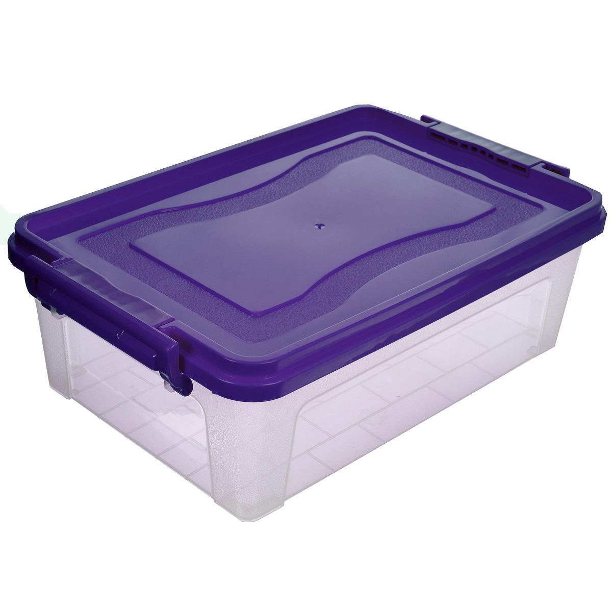 Контейнер для хранения Idea, прямоугольный, цвет: фиолетовый, прозрачный, 6,3 лМ 2861_фиолетовый, прозрачныйКонтейнер для хранения Idea выполнен из высококачественного пластика. Контейнер снабжен двумя пластиковыми фиксаторами по бокам, придающими дополнительную надежность закрывания крышки. Вместительный контейнер позволит сохранить различные нужные вещи в порядке, а герметичная крышка предотвратит случайное открывание, защитит содержимое от пыли и грязи.