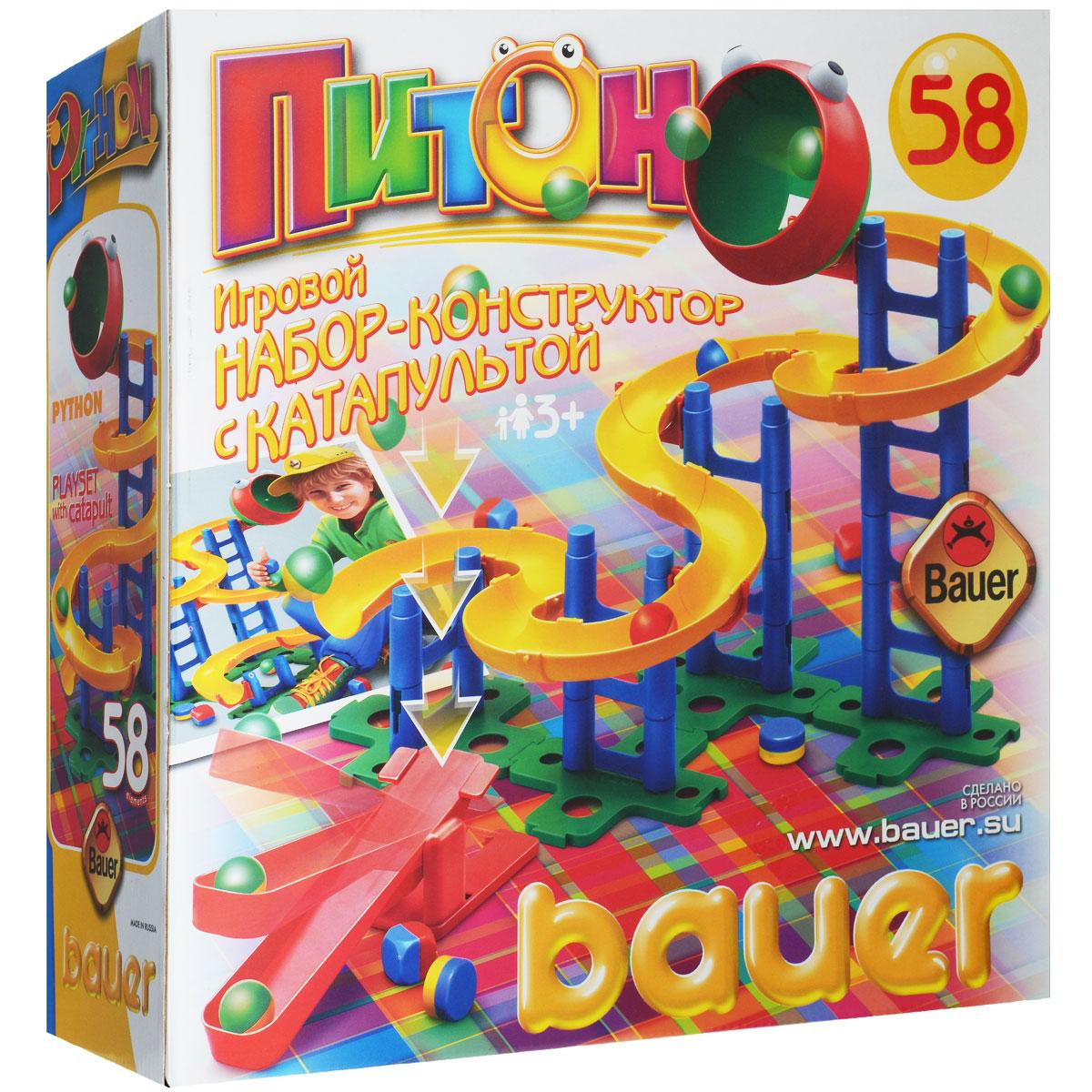 Bauer Конструктор Питон036Конструктор Bauer Питон - веселая и увлекательная игра, представляющая собой пластиковый конструктор, состоящий из 58 элементов. Верхняя часть выполнена в виде головы питона, с огромным распахнутым ртом, а внизу имеется катапульта с предметами для метания, которые можно забрасывать прямо в пасть питона, и тогда они по желобу скатятся обратно к катапульте. Из деталей конструктора можно собрать питона разных форм. Развивает координацию действий, моторику. В набор входит: катапульта, ядра, желоба и стойки. Конструктор упакован в удобную коробку с ручкой для переноски.