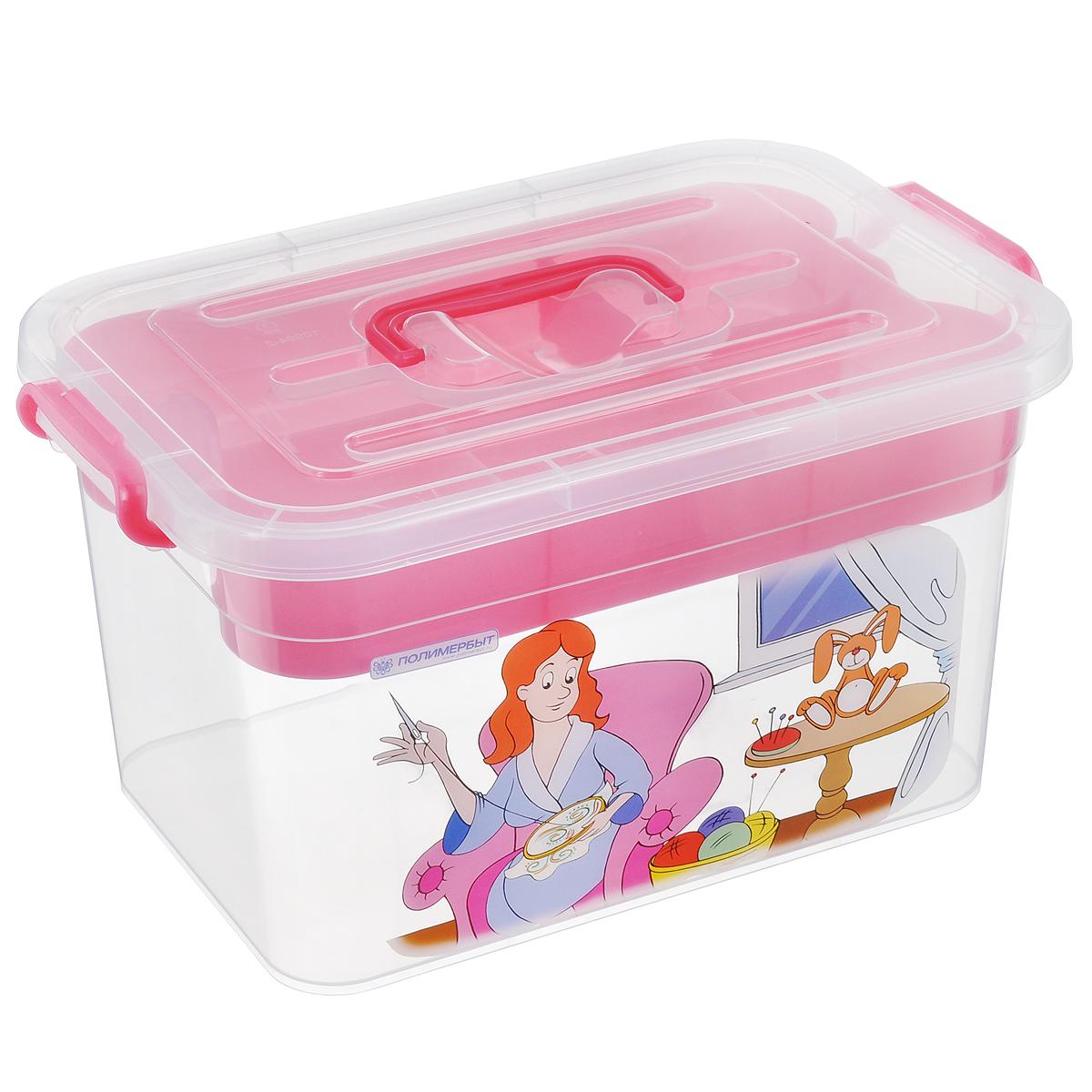 Контейнер для хранения Полимербыт Рукоделие, с вкладышем, цвет: розовый, прозрачный, 10 лС81002Контейнер Полимербыт Рукоделие выполнен из прочного пластика и предназначен для хранения предметов рукоделия. Внутри имеется съемный пластиковый лоток с пятью секциями разной формы и размера для хранения мелких принадлежностей. Закрывается контейнер при помощи крепких защелок по бокам, которые не допускают случайного открывания. Для удобства эксплуатации на крышке есть ручка. Контейнер поможет хранить все в одном месте, а также защитить вещи от пыли, грязи и влаги. Размер вкладыша: 30,4 см х 20 см х 6 см. Размер самого большой секции вкладыша: 20 см х 9,8 см х 4 см. Размер самого маленькой секции вкладыша: 9,8 см х 9,8 см х 4 см.