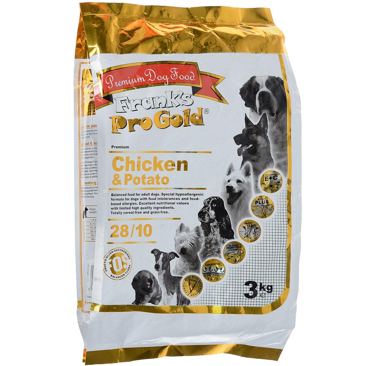 """Корм сухой """"Frank's ProGold"""" для собак, беззерновой, с курицей и картофелем, 3 кг 17932"""