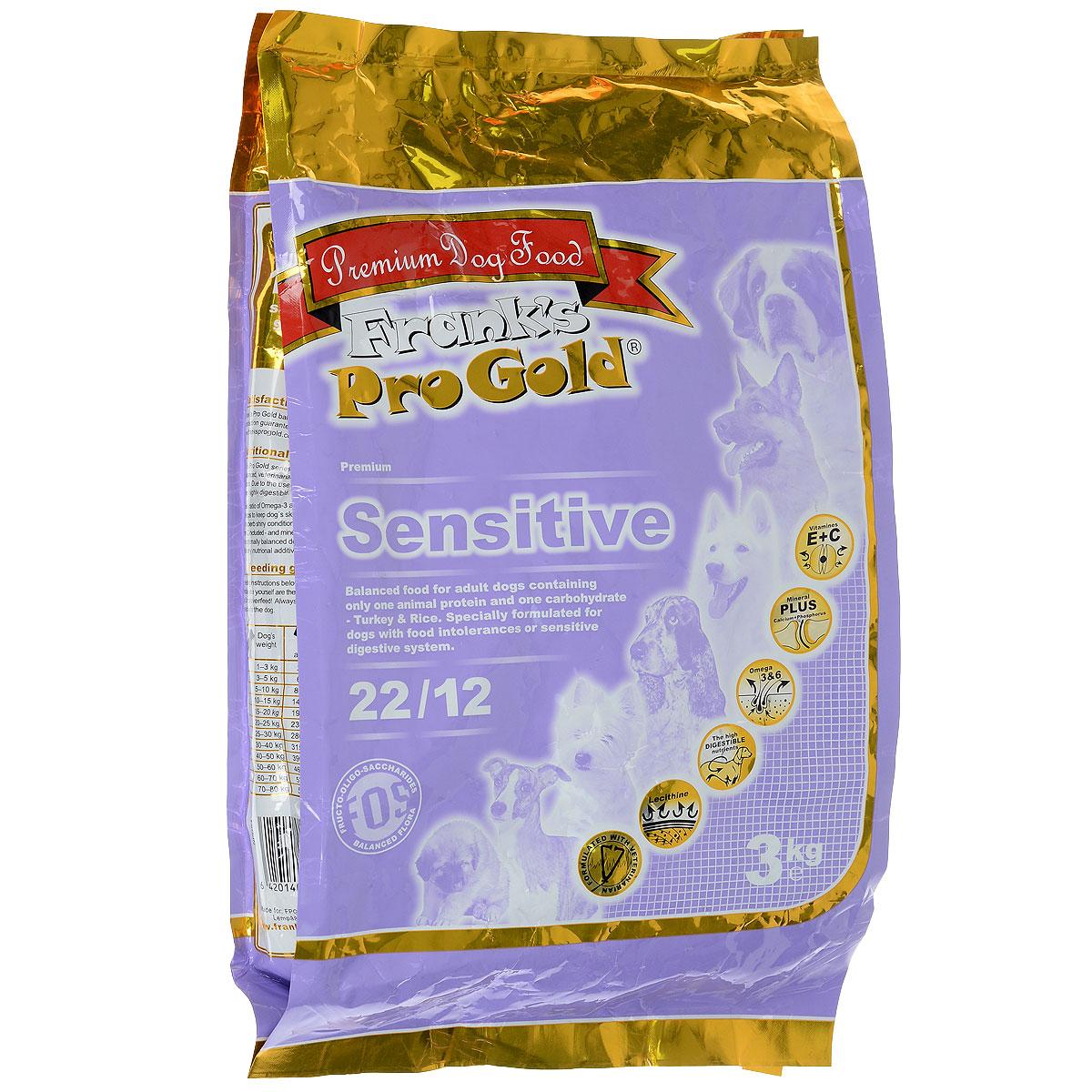 Корм сухой Franks ProGold для собак, с индейкой по-голландски, 3 кг17925Корм сухой Franks ProGold разработан для собак с пищевой аллергией или чувствительной пищеварительной системой. Данный рецепт содержит единственный источник животного белка (индейка), а также один источник углевода (рис), что положительно влияет на пищеварительную систему и сводит к минимуму возможные аллергические реакции. Сочетание жира индейки, рыбного жира и жирных кислот Омега 6 и Омега 3 улучшает состояние кожи и шерсти. Также в данном корме высокое содержание жирных кислот. Инулин поддерживает здоровую микрофлору кишечника. Не содержит пшеницы, соевых добавок, ГМО.