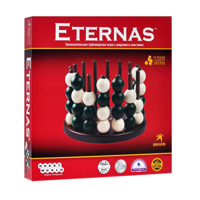 Hobby World Настольная игра Eternas1068Развивающая игра Eternas откроет вам мир хитроумных головоломок и быстрых тактических поединков. В комплект игры входят игровая подставка, 16 шестов, 32 шара (16 зеленых и 16 белых и правила игры на русском языке. Цель игры - разместить 4 шара в линию по горизонтали, вертикали и диагонали раньше соперника. Перед игрой игроки получают по 16 шаров своего цвета. Затем игроки поочередно надевают шары на шесты, пока не сформируется линия из 4 шаров одного цвета. Игрок, первым разместивший 4 шара в линию по вертикали, горизонтали или диагонали, становится победителем.