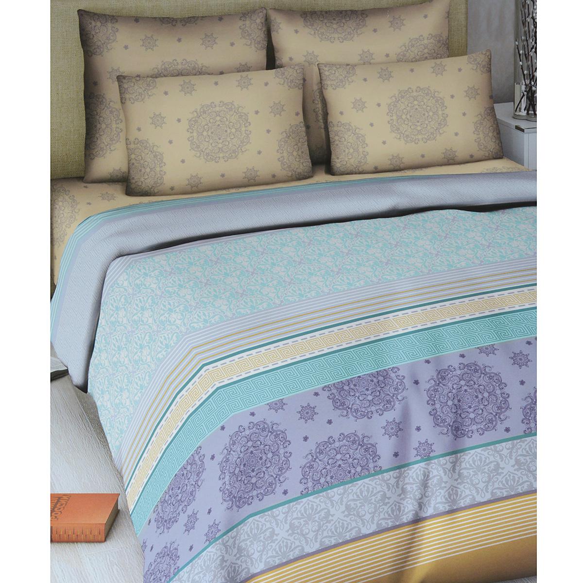 Комплект белья Василиса Элегия, 2-спальный, наволочки 70х70, цвет: бежевый, светло-серый, бирюзовый