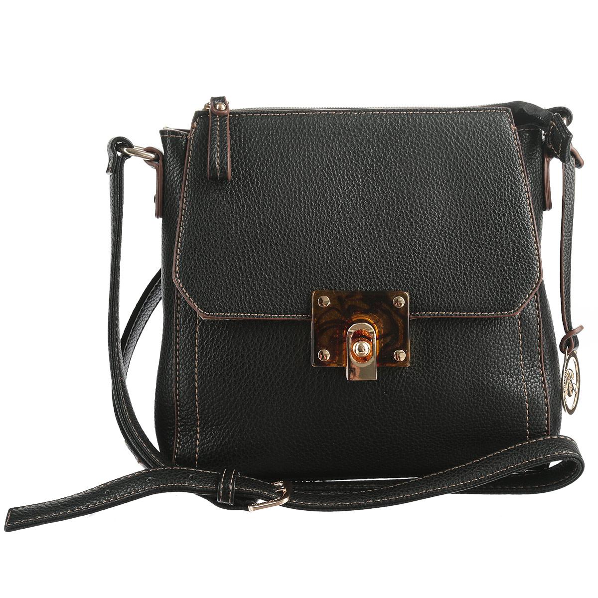 Сумка женская Jane Shilton, цвет: черный. 16961696blИзысканная женская сумка Jane Shilton выполнена из искусственной кожи с текстурным теснением. Изделие имеет одно основное отделение, которое закрывается на застежку-молнию. Внутри имеется прорезной кармашек на застежке-молнии и накладной кармашек для телефона. На внешней стороне - плоский карман, закрывающийся клапаном на застежку. Модель оснащена плечевым ремнем, который регулируется по длине. Сумка украшена брелоком с логотипом. Роскошная сумка внесет элегантные нотки в ваш образ и подчеркнет ваше отменное чувство стиля.