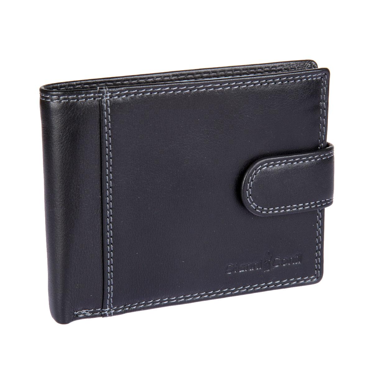 Портмоне мужское Gianni Conti, цвет: черный. 18074611807461 black multiСтильное мужское портмоне Gianni Conti выполнено из натуральной кожи. Изделие раскладывается пополам. Портмоне содержит два отделения для купюр, одно из которых на застежке-молнии, три кармашка для визиток и пластиковых карт, карман для мелочи на кнопке, три кармана для документов и потайной карман. Лицевая сторона модели оформлена тиснением в виде названия бренда производителя. Закрывается изделие на хлястик с кнопкой. Портмоне упаковано в фирменную картонную коробку. Оригинальное портмоне подчеркнет вашу индивидуальность и изысканный вкус, а также станет замечательным подарком человеку, ценящему качественные и практичные вещи.