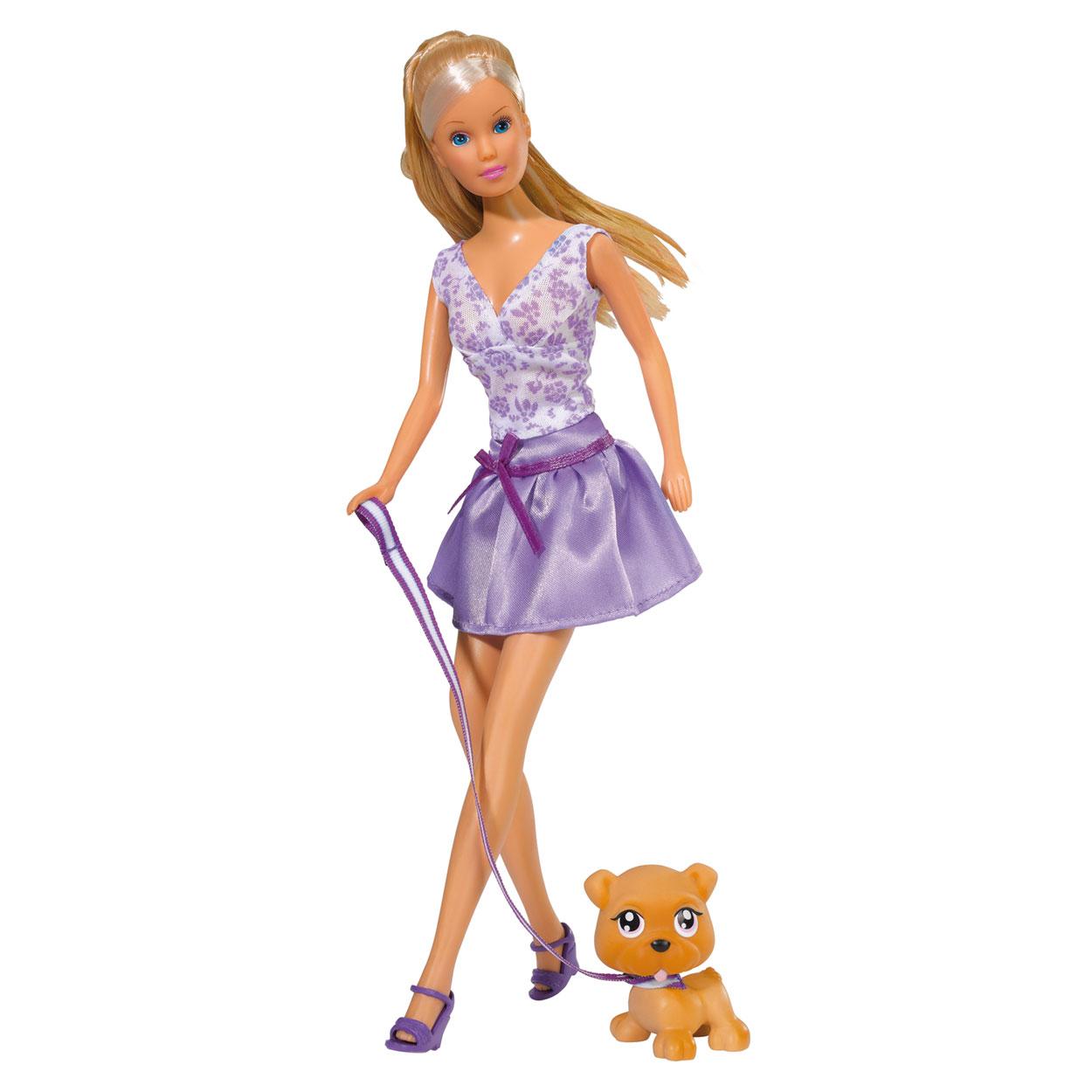 Simba Кукла Штеффи с собачкой5739024Кукла Simba Steffi Love. Fashion Dog надолго займет внимание вашей малышки и подарит ей множество счастливых мгновений. Кукла изготовлена из пластика, ее голова, ручки и ножки подвижны (ноги сгибаются), что позволяет придавать ей разнообразные позы. В комплект с куклой входит маленькая собачка. У нее также как и у куклы имеется наряд. Дополнительно набор оснащен двумя расческами и зеркальцем. Кукла одета в современное платье и туфли, а ее шикарные волосы уложены в красивую прическу. Вашей дочурке непременно понравится заплетать длинные белокурые волосы куклы, придумывая разнообразные прически. Благодаря играм с куклой, ваша малышка сможет развить фантазию и любознательность, овладеть навыками общения и научиться ответственности, а дополнительные аксессуары сделают игру еще увлекательнее. Порадуйте свою принцессу таким прекрасным подарком!