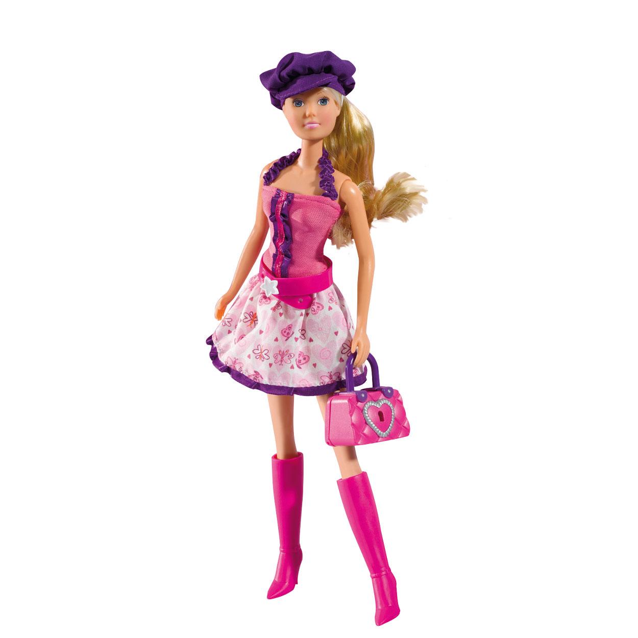 Simba Кукла Штеффи с секретной сумочкой5733081Кукла Simba Steffi Love. Sekret Bag надолго займет внимание вашей малышки и подарит ей множество счастливых мгновений. Кукла изготовлена из пластика, ее голова, ручки и ножки подвижны, что позволяет придавать ей разнообразные позы. Куколка одета в стильное платье и розовые сапоги. Стильный образ дополняют розовый ремень и фиолетовая кепка. Чудесные длинные волосы куклы так весело расчесывать и создавать из них всевозможные прически, косички и хвостики. У Штеффи имеется секретная сумочка с сюрпризом, которая закрывается на ключ. Благодаря играм с куклой, ваша малышка сможет развить фантазию и любознательность, овладеть навыками общения и научиться ответственности, а дополнительные аксессуары сделают игру еще увлекательнее. Порадуйте свою принцессу таким прекрасным подарком!