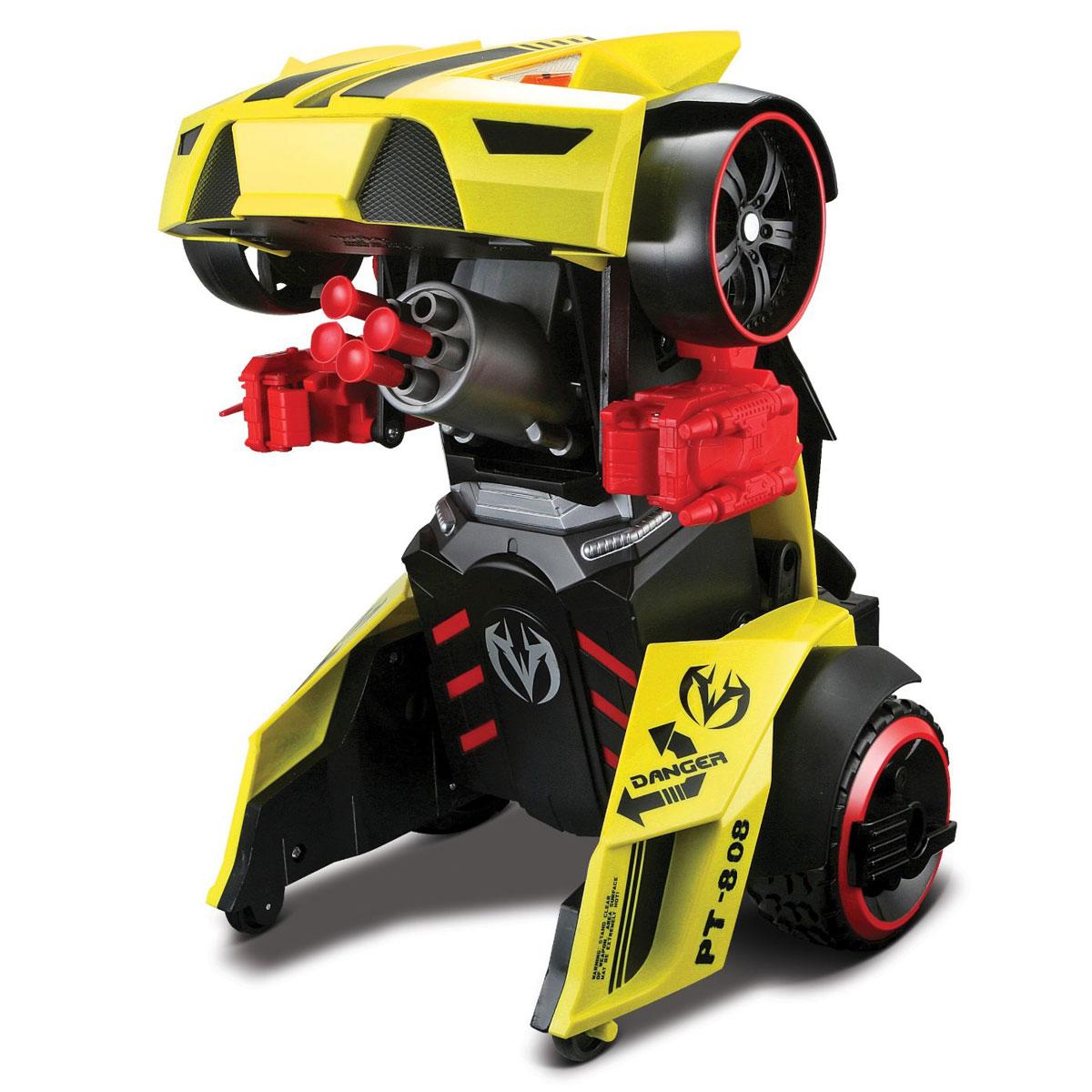 Maisto Машина-трансформер на радиоуправлении РТ-808 цвет желтый81108_желтыйMaisto Радиоуправляемая модель Трансформирующаяся машина РТ-808 непременно понравится любому мальчику. Машина выполнена из безопасного пластика. С помощью пульта управления ее можно трансформировать в робота и обратно, причем как в движении, так и в стационарном положении. Робот имеет возможность стрельбы специальными стрелами на присосках. Модель автомобиля может развивать скорость до 10 км/ч. Зарядка аккумулятора осуществляется от пульта управления. В комплект входит машина, пульт управления, 8 ракет и инструкция по эксплуатации на русском языке. Порадуйте своего ребенка таким замечательным подарком! Для работы игрушки необходима 1 батарейка напряжением 9V типа Крона. Для работы пульта управления необходимы 6 батареек напряжением 1,5V типа АА (не входят в комплект).