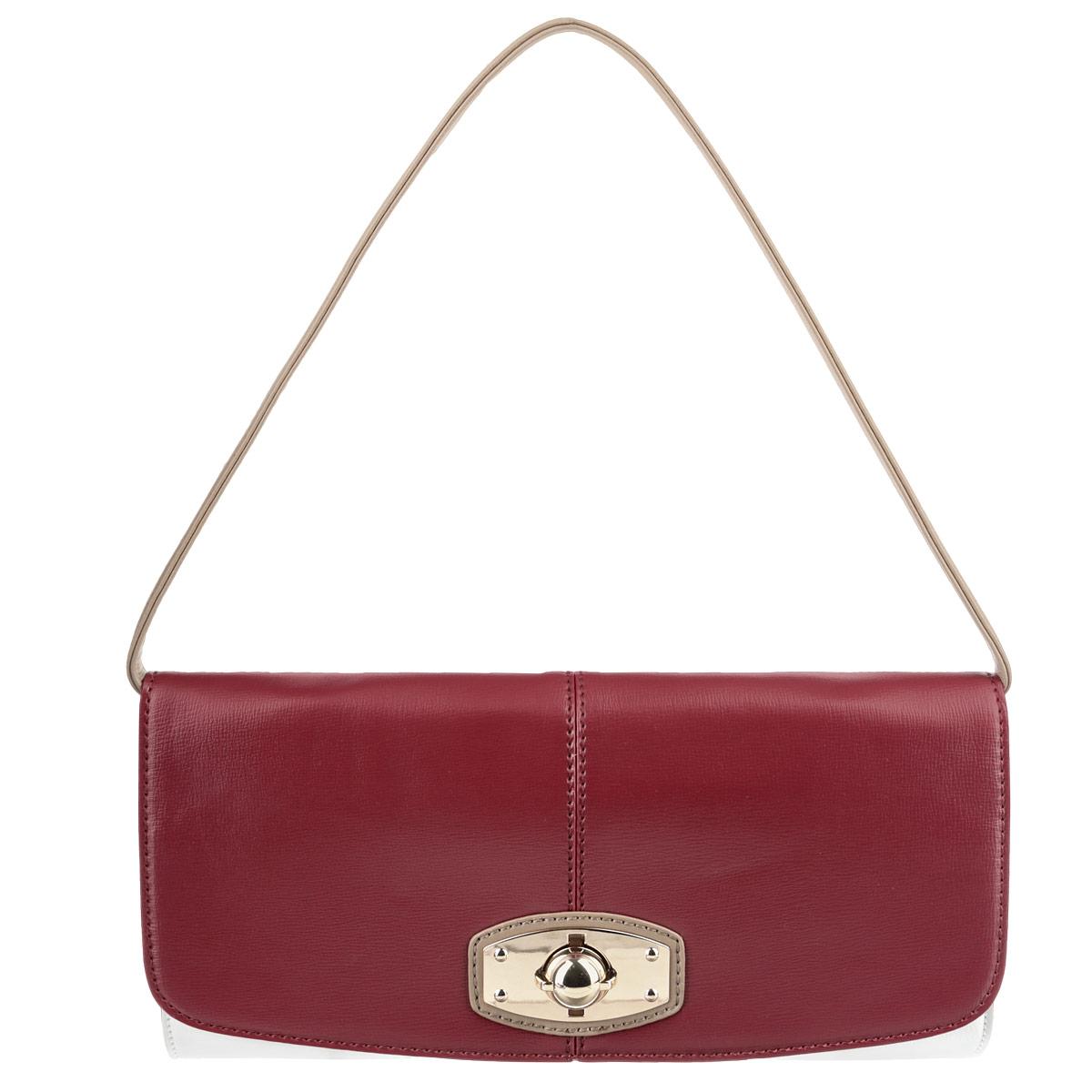 Клатч женский Jane Shilton, цвет: бордовый, белый. 12141214Стильный клатч Jane Shilton изготовлен из высококачественной искусственной кожи. Сумка оснащена съемным ремнем, регулируемой длины. Изделие закрывается на замок-вертушку. Внутреннее отделение разделено средником на застежке-молнии, содержит один накладной карман для мобильного телефона и врезной карман на застежке-молнии. Тыльная сторона дополнена врезным карманом на застежке-молнии. Фурнитура золотистого цвета. Современная женщина - особа взыскательная. Для работы и выхода в свет ей необходим практичный аксессуар, который бы легко и изящно дополнял любой комплект. Для таких женщин и предназначены сумки семьи Shilton, они будут долго служить верой и правдой своей обладательнице.