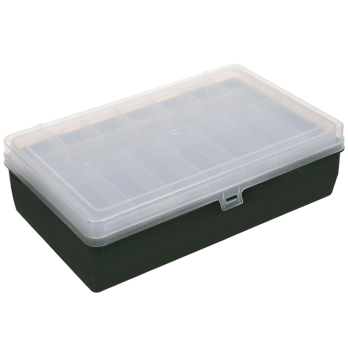 Коробка для мелочей Trivol, двухъярусная, цвет: темно-зеленый, прозрачный, 23,5 х 15 х 6 см525823_темно-зеленыйДвухъярусная коробка для мелочей Trivol изготовлена из высококачественного пластика. Прозрачная крышка позволяет видеть содержимое коробки. Изделие имеет два яруса. Верхний ярус представляет собой съемное отделение, в котором содержится 15 прямоугольных ячеек. Нижний ярус имеет 3 ячейки разного размера. Коробка прекрасно подойдет для хранения швейных принадлежностей, рыболовных снастей, мелких деталей и других бытовых мелочей. Удобный и надежный замок-защелка обеспечивает надежное закрывание крышки. Коробка легко моется и чистится. Такая коробка поможет держать вещи в порядке. Размер самой маленькой ячейки: 3,5 см х 3 см х 1,7 см. Размер самой большой ячейки: 13 см х 14,5 см х 5 см.