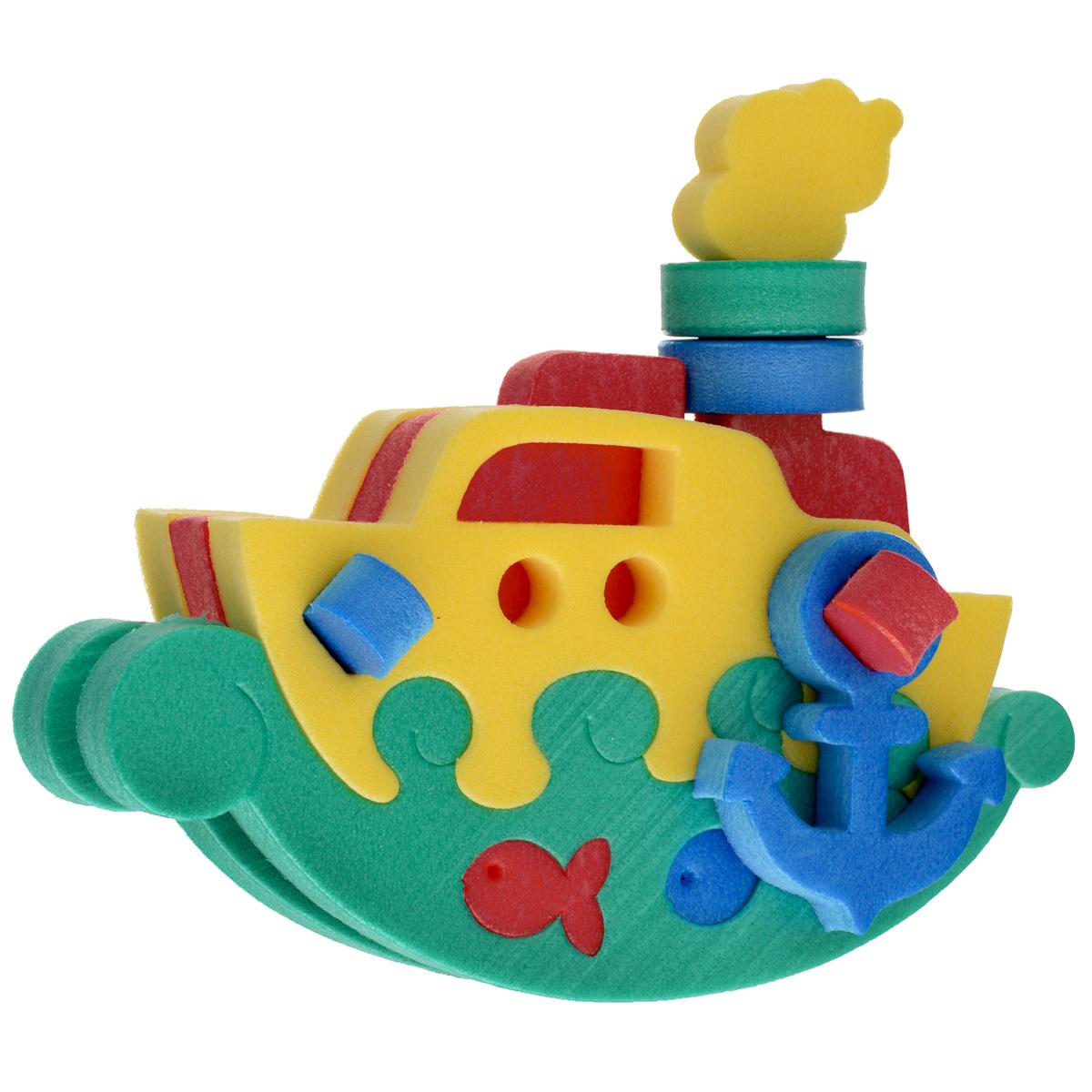 Флексика Мягкий конструктор Пароходик45382Мозаики и конструкторы настолько универсальны и практичны, что с ними можно играть практически везде. Для производства игрушек используется современный, легкий, эластичный, прочный материал, который обеспечивает большую долговечность игрушек, и главное –является абсолютно безопасным для детей. К тому же, благодаря особой структуре материала и свойству прилипать к мокрой поверхности, мягкие конструкторы и мозаики являются идеальной игрушкой для ванны. Способствует развитию у ребенка мелкой моторики, образного и логического мышления, наблюдательности.