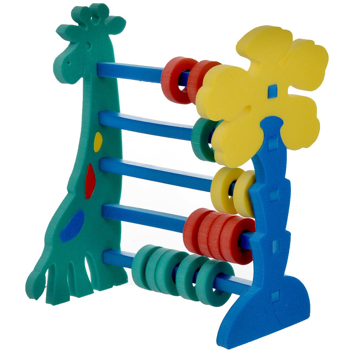 Флексика Мягкий конструктор Счеты Жираф45313Мягкий конструктор Жираф станет приятным и полезным подарком для вашего ребенка. Конструктор может стать не только забавной игрушкой, но также и одним из первых пособий по математике. С помощью предложенного конструктора малыш соберет разноцветные счеты и сможет познакомиться в наглядной форме с нехитрыми правилами сложения и вычитания. Все элементы счетов выполнены из современного, легкого, эластичного материала, который обеспечивает большую долговечность и является абсолютно безопасным для детей. Кроме того, мягкий конструктор способствует развитию у ребенка мелкой моторики, наблюдательности, образного и логического мышления.