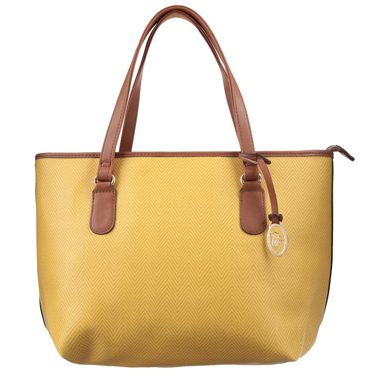 Сумка женская Jane Shilton, цвет: желтый, коричневый. 17171717yellowОригинальная женская сумка Jane Shilton изготовлена из искусственной кожи и оформлена ярким орнаментом и подвеской с изображением логотипа бренда. Изделие содержит одно главное отделение, закрывающееся на застежку-молнию, внутри которого расположены: накладной карман для телефона, вшитый карман на молнии и карман-средник на молнии. Снаружи, в задней стенке сумки, размещен вшитый карман на молнии. Сумка дополнена двумя практичными ручками, которые позволят носить ее как в руках, так и на плече. Такая сумка прекрасно дополнит ваш образ.