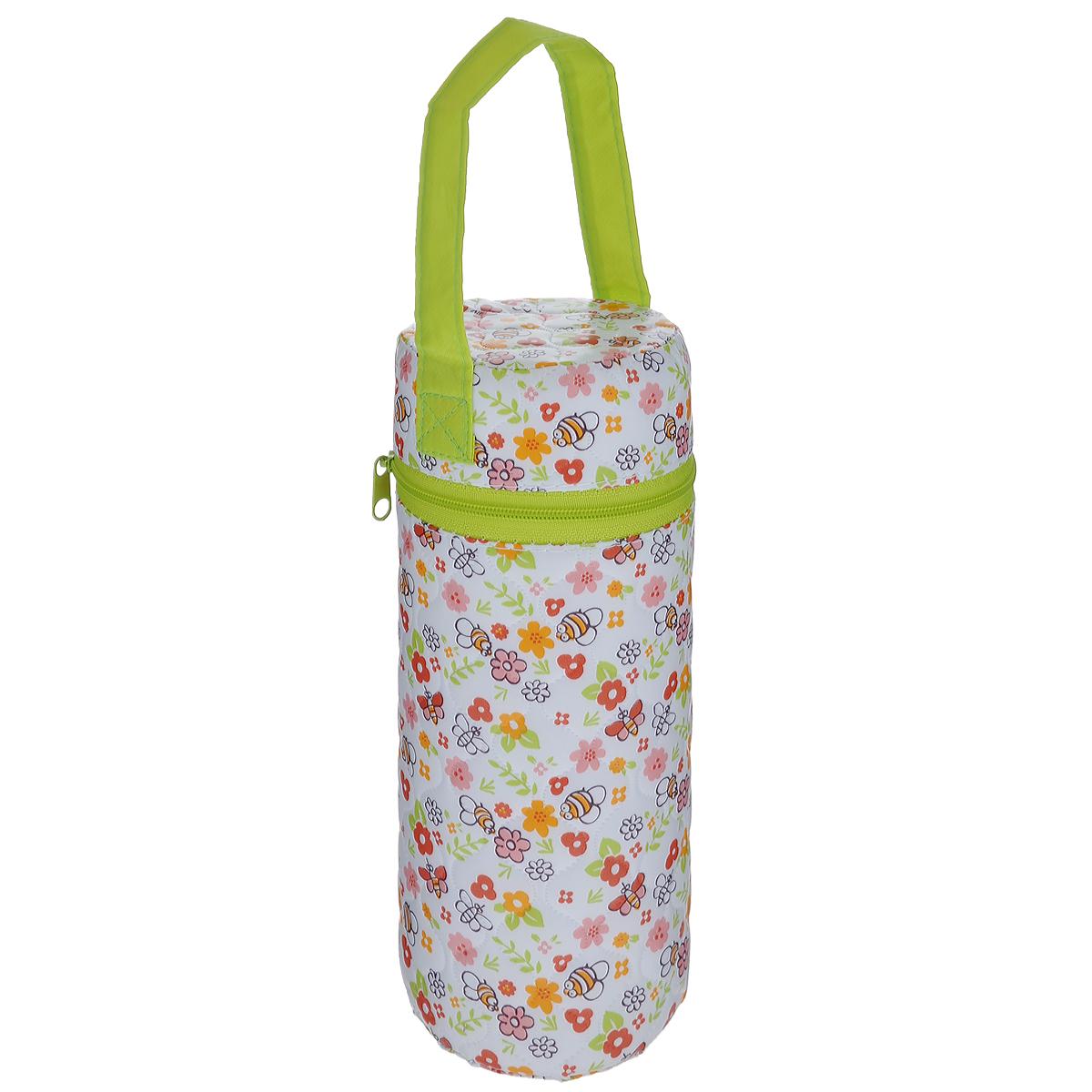 Контейнер для бутылочки Мир детства Пчелки, трехслойный, цвет: белый, салатовый
